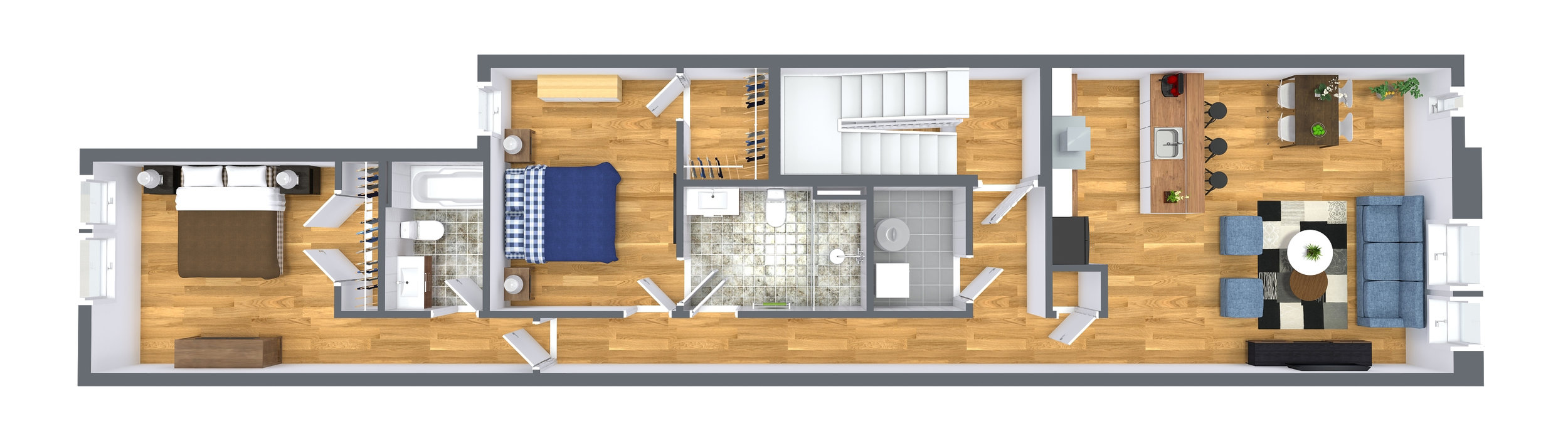 Level Two - Unit Flat Two Bedroom, Two Full Bathroom,1,150 SqrFt.