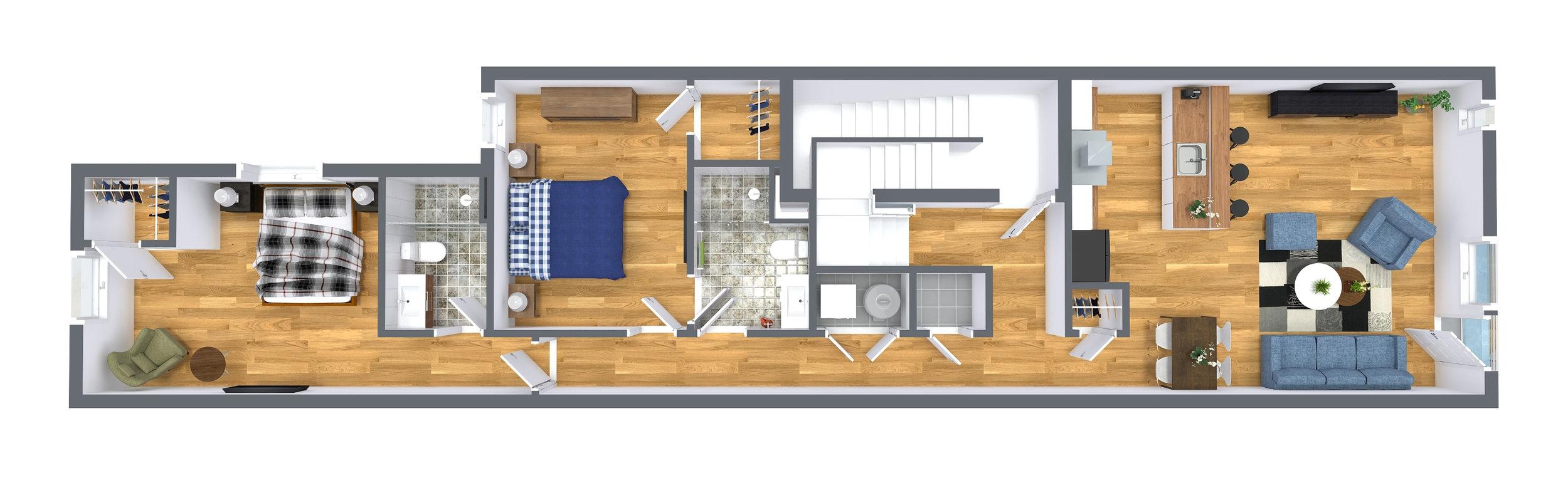 Level Three - Unit Flat Two Bedroom, Two Full Bathroom,1,150 SqrFt.