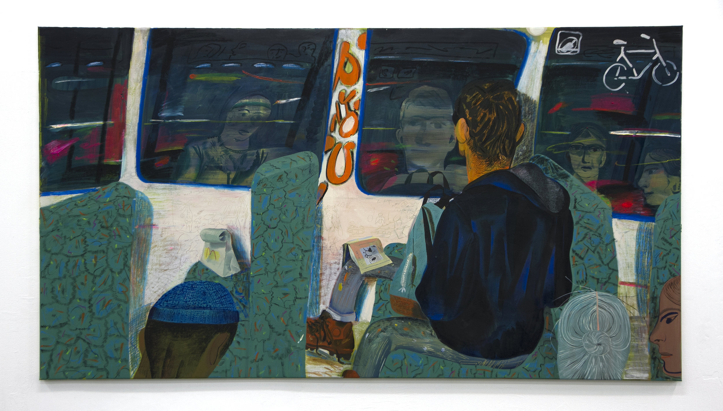 """Night Train , oil and oil pastel on canvas, 43.3"""" x 78.7"""", 2016"""