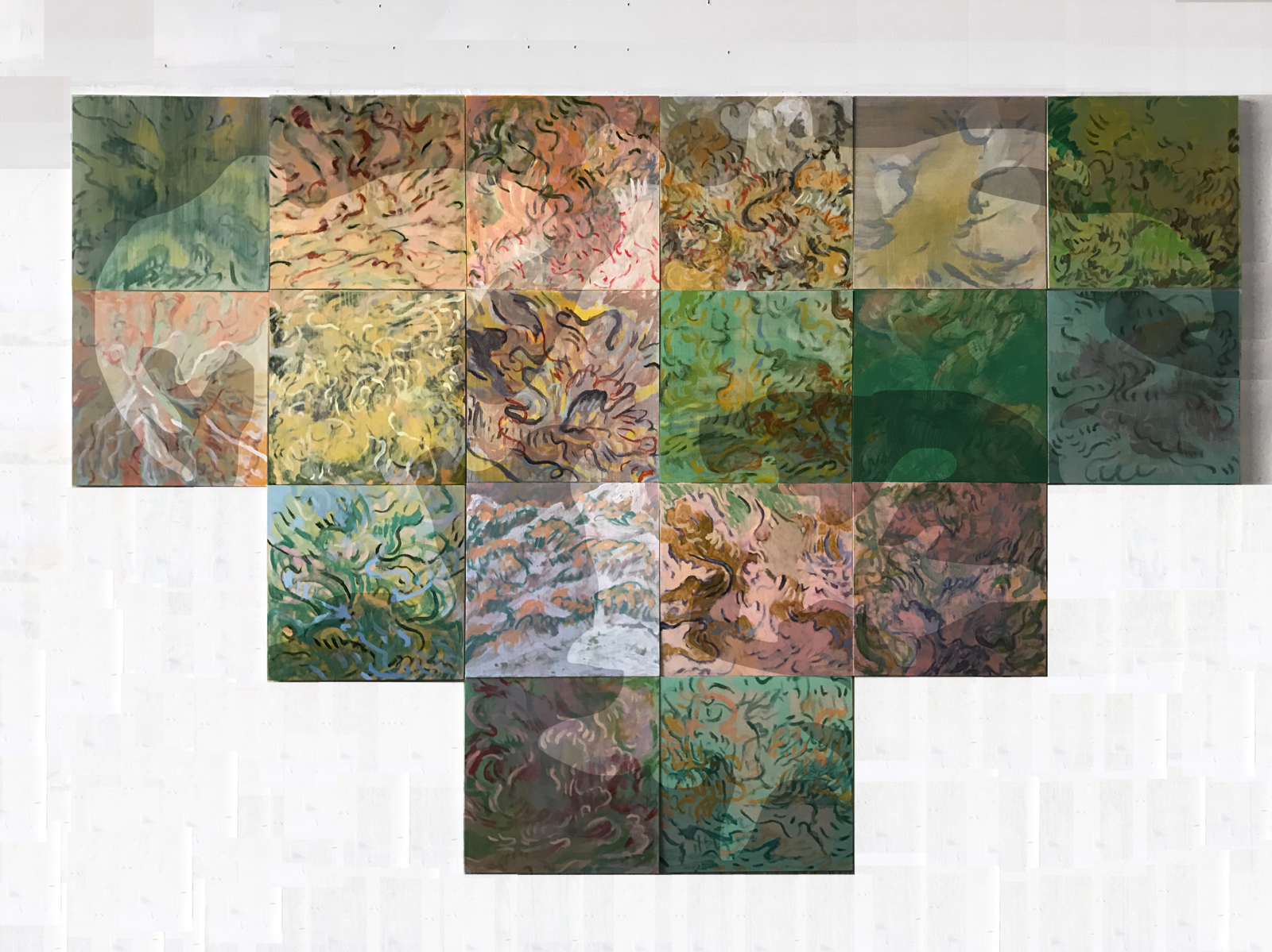 "Dreaming As Tree , acrylic on panel, 108' x 72"" (18, 18""x18"" panels)"