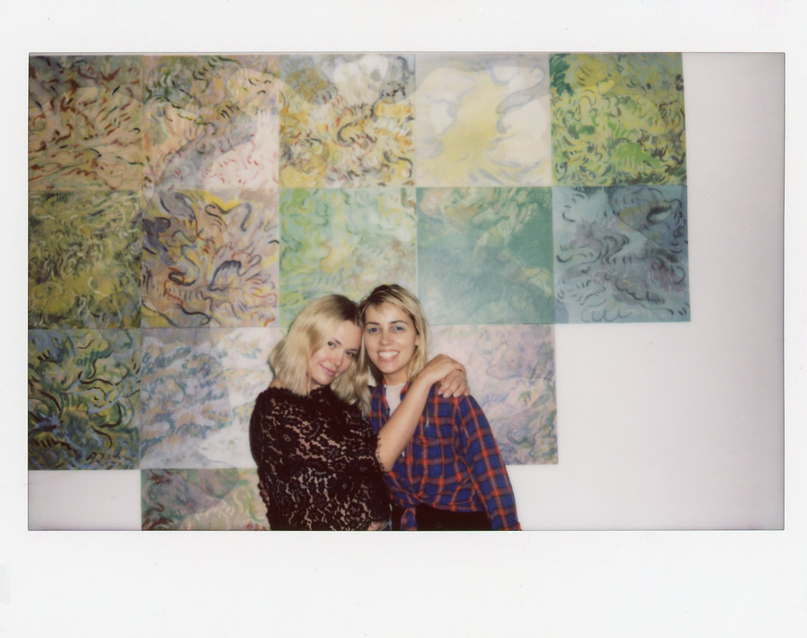 Hilde Lynn Helphenstein and Nicole Reber in front of Melanie Moczarski's  Trees as They Dream of Themselves , 2017.