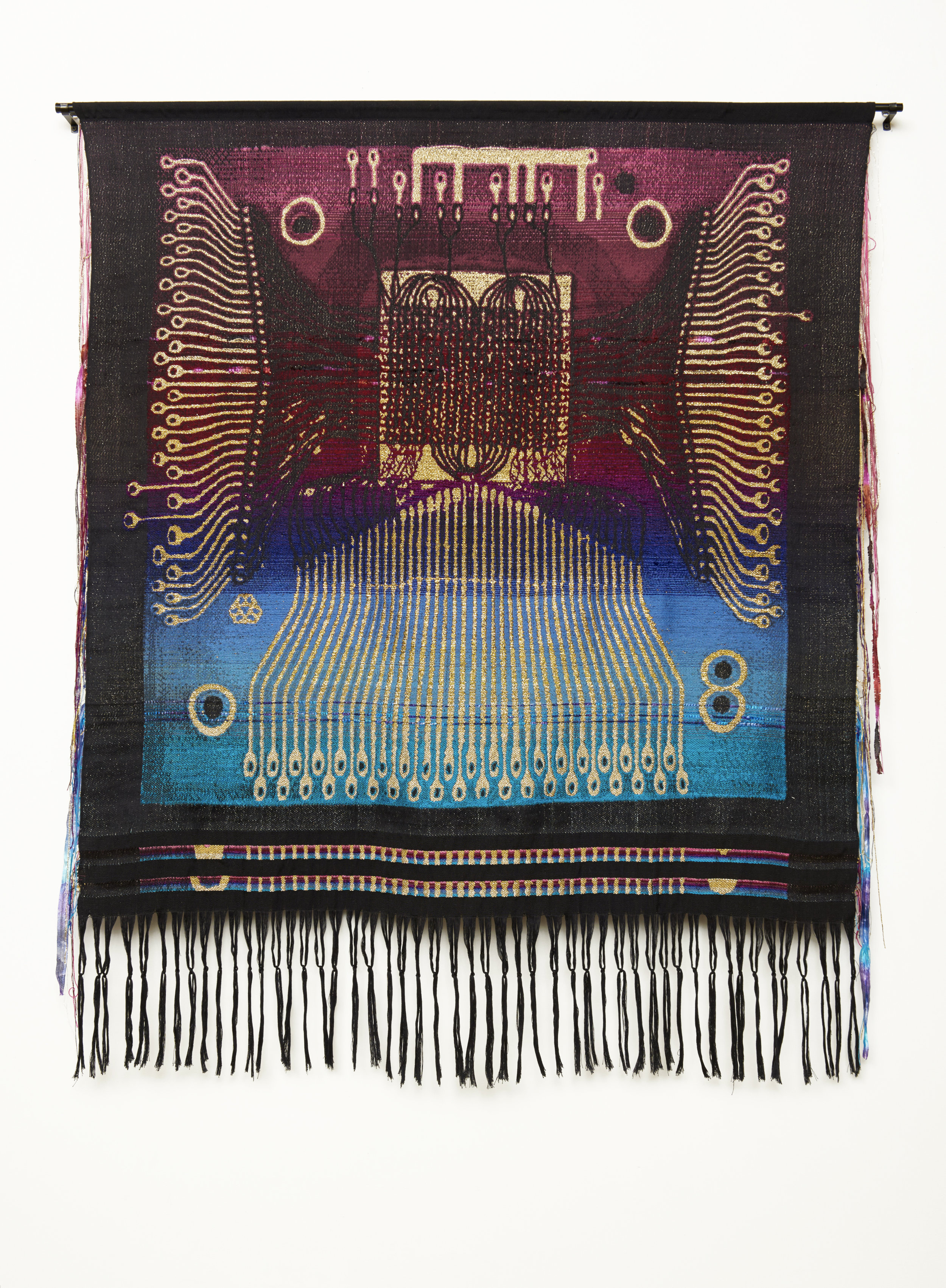 """Daggerwing , Hand Jacquard woven wool, chenille, hand dyed cotton, and metallic yarn, 53"""" x 65,"""" 2016"""