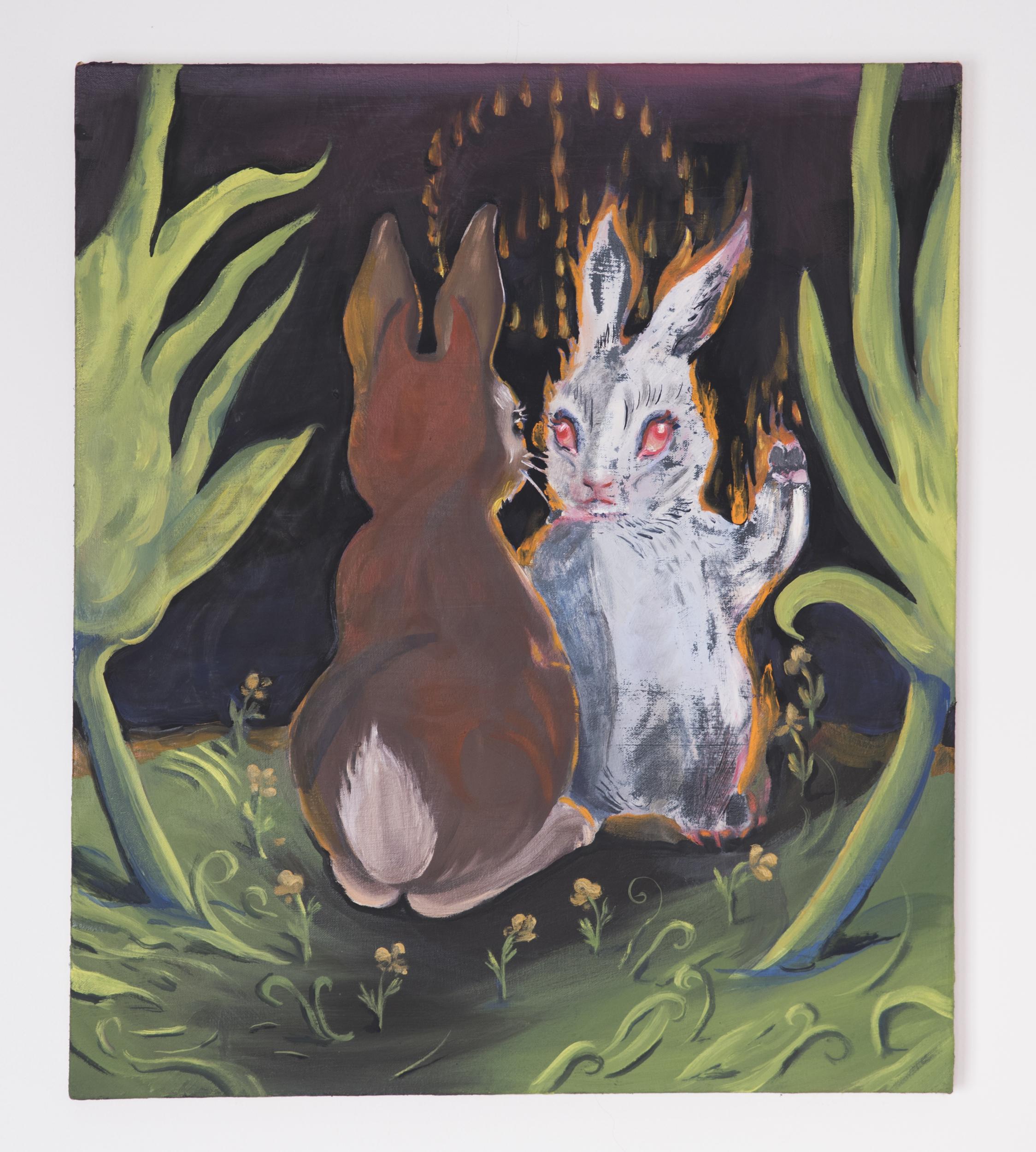 """Haley Josephs,  Peace Bunny,  2017, Oil on canvas, 28"""" x 24"""""""