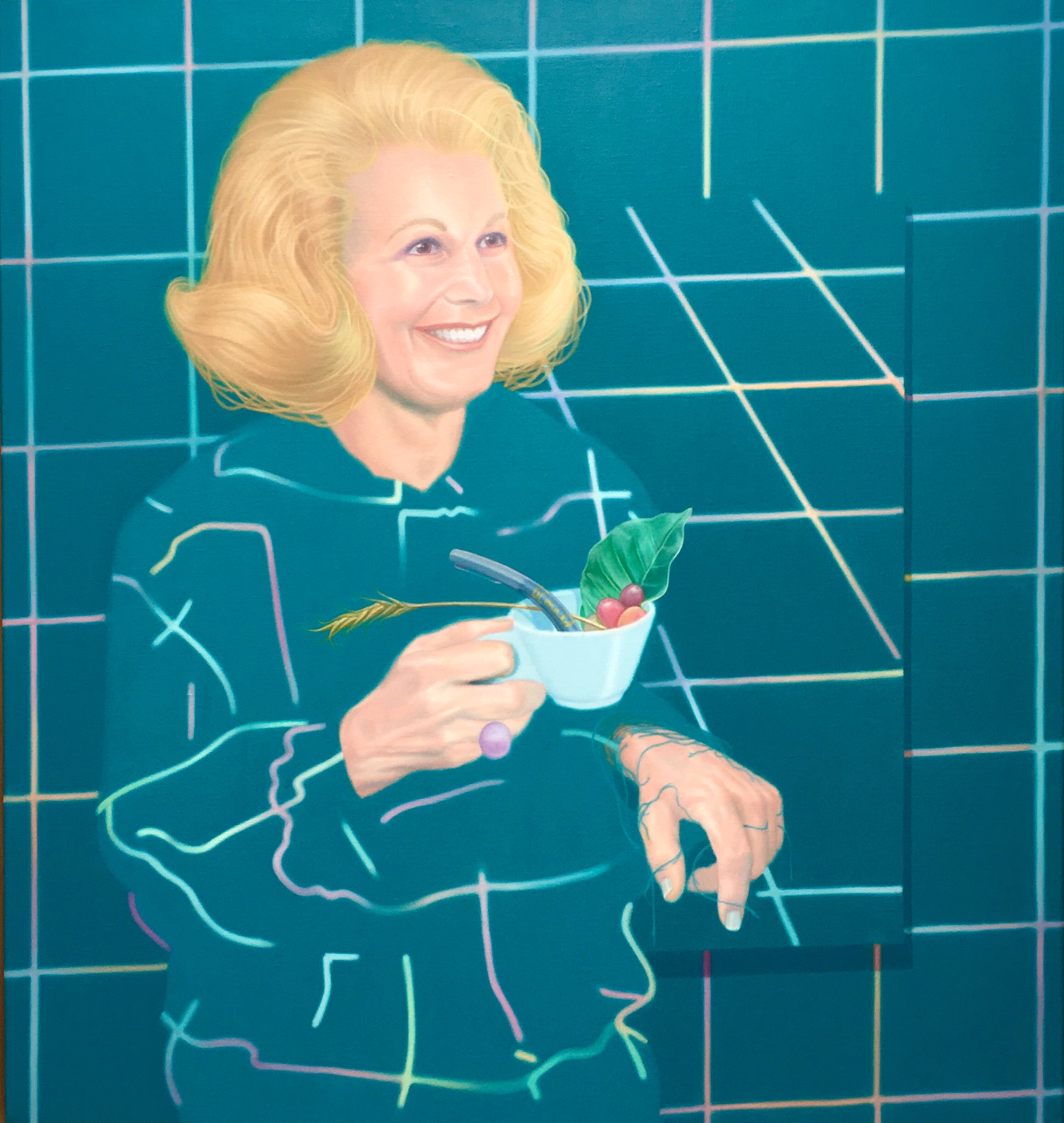 """Jake Kean Mayman,  Joan Quigley (Zero Years) , 2017, Oil on Linen, 36 ½"""" x 34 ¼"""""""