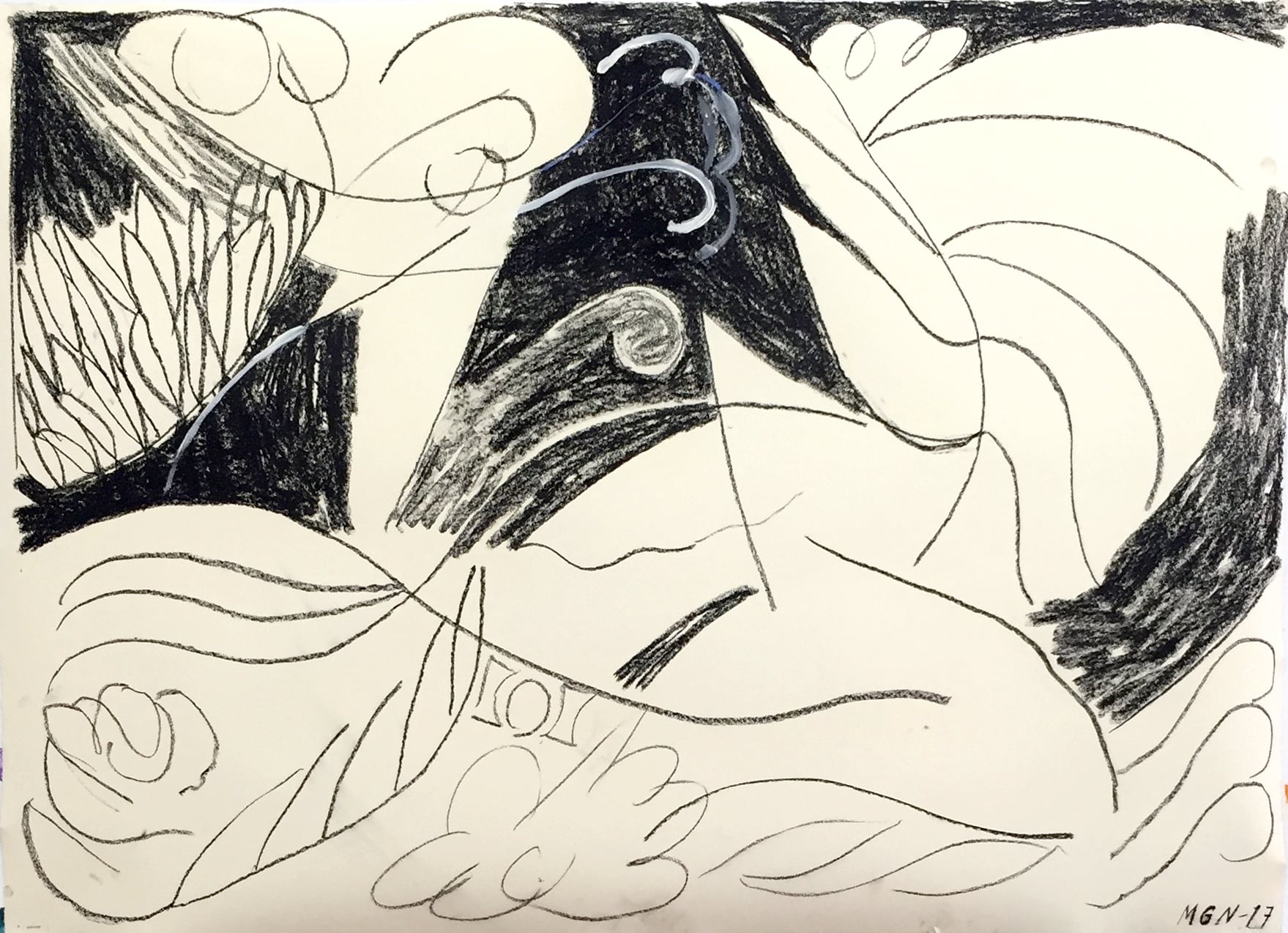 "Malin Gabriella Nordin,  Dana , 2017, Charcoal and flashe on paper, 30"" x 42"""