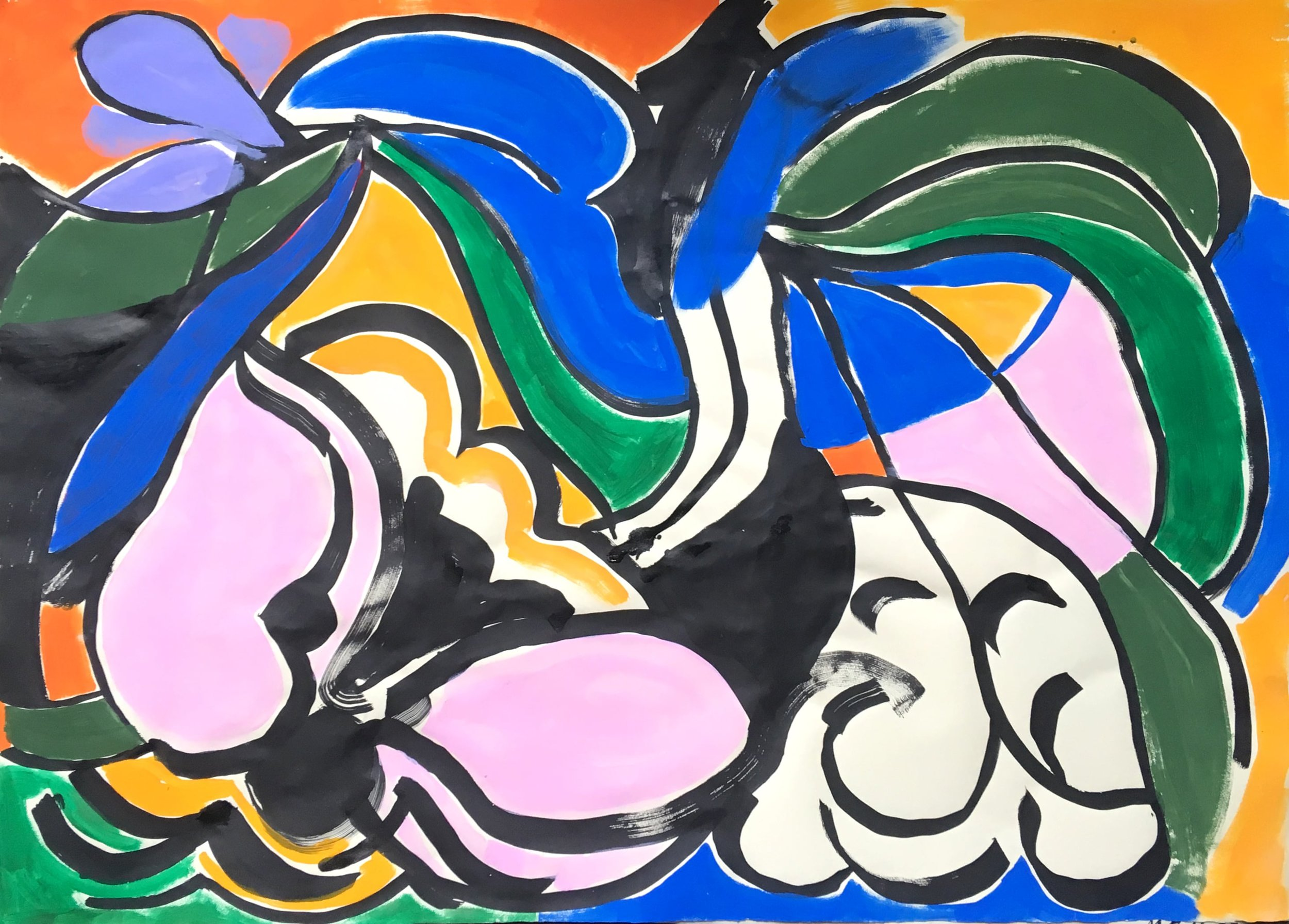 "Malin Gabriella Nordin,  B , 2017, Flashe and ink on paper, 30"" x 42"""