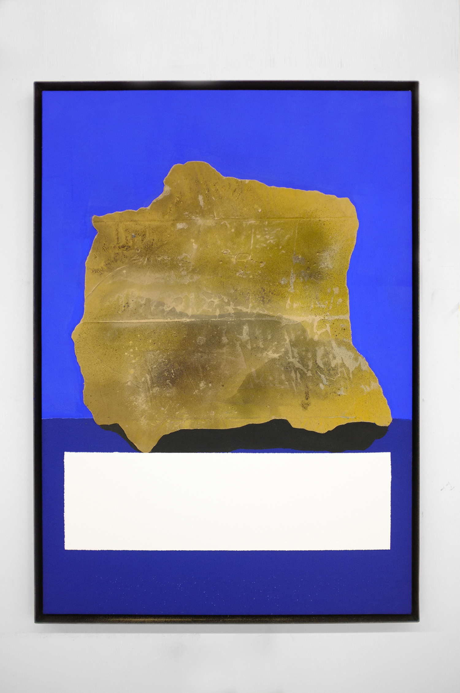 ROCK STUDY (PAPA)  2017  41 X 29 INCHES  CASEIN, ACRYLIC AND GROUT ON CANVAS OVER PANEL IN STEEL FRAME