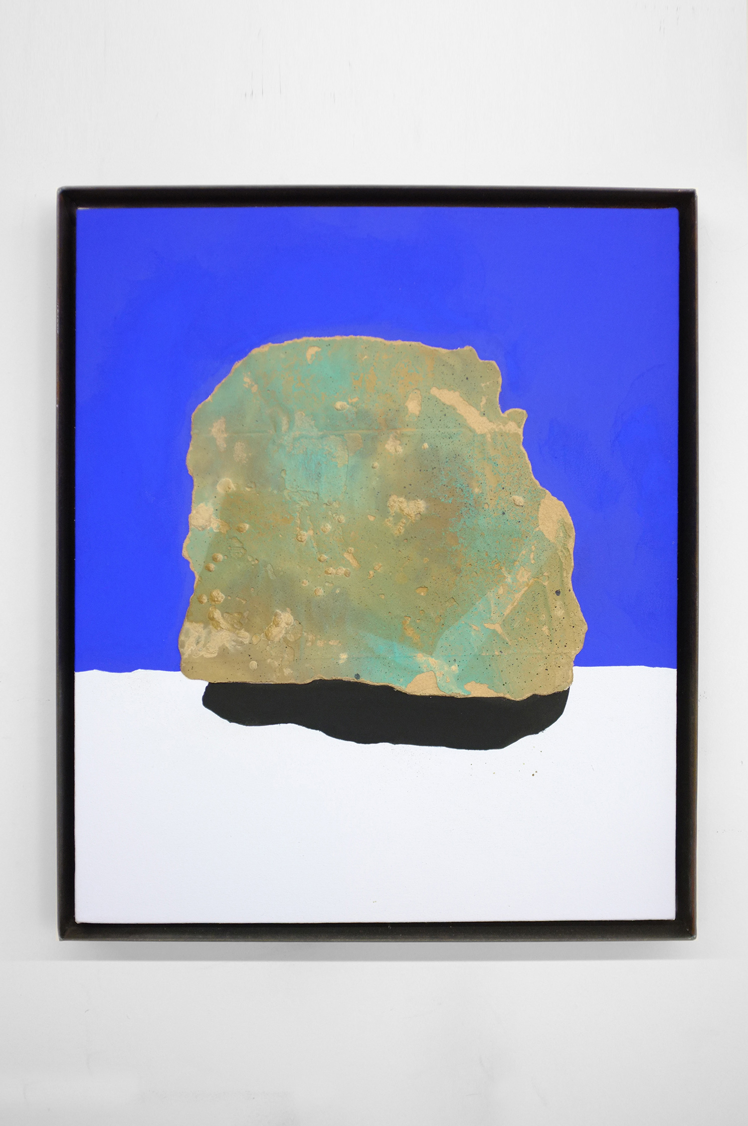 ROCK STUDY (BABY BROTHER)  2017  25 X 21 INCHES  CASEIN, ACRYLIC AND GROUT ON CANVAS OVER PANEL IN STEEL FRAME