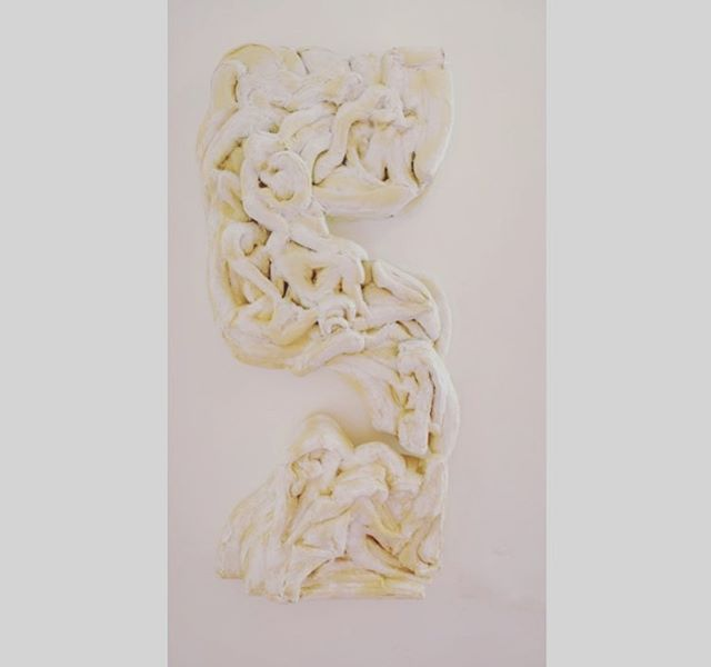 "Lilah Slager Rose Fifteen Females Piece A) 25"" wide x 7"" deep x 42"" tall + Piece B) 25"" wide x 7"" deep x 19"" tall Foam board, polyester stuffing, muslin, acrylic 2018 #lilahslagerrose #softsculpture #hilde #avalon #female"