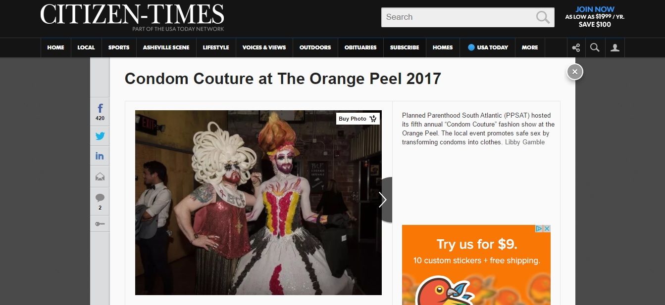 March 12, 2017 - The Beer City Sisters participate on Condom Couture, a fashion show organized by Planned Parenthood to raise funds and continue their efforts to reduce teen pregnancy, STI transmission and expand health and educational services.