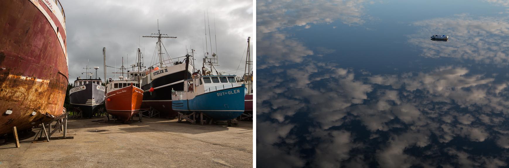 Cradled fishing boats, Port Saunders; Dinghy,Dunfield