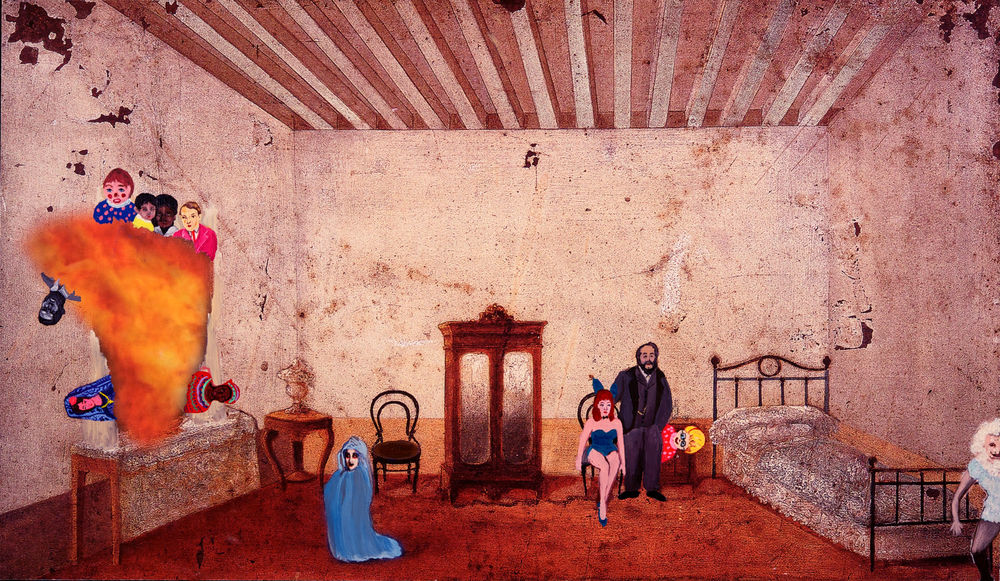 Shelli Tollman  Room at the Blue Fox Hotel #3. 2017  Oil on canvas with digital print. 30 x 18