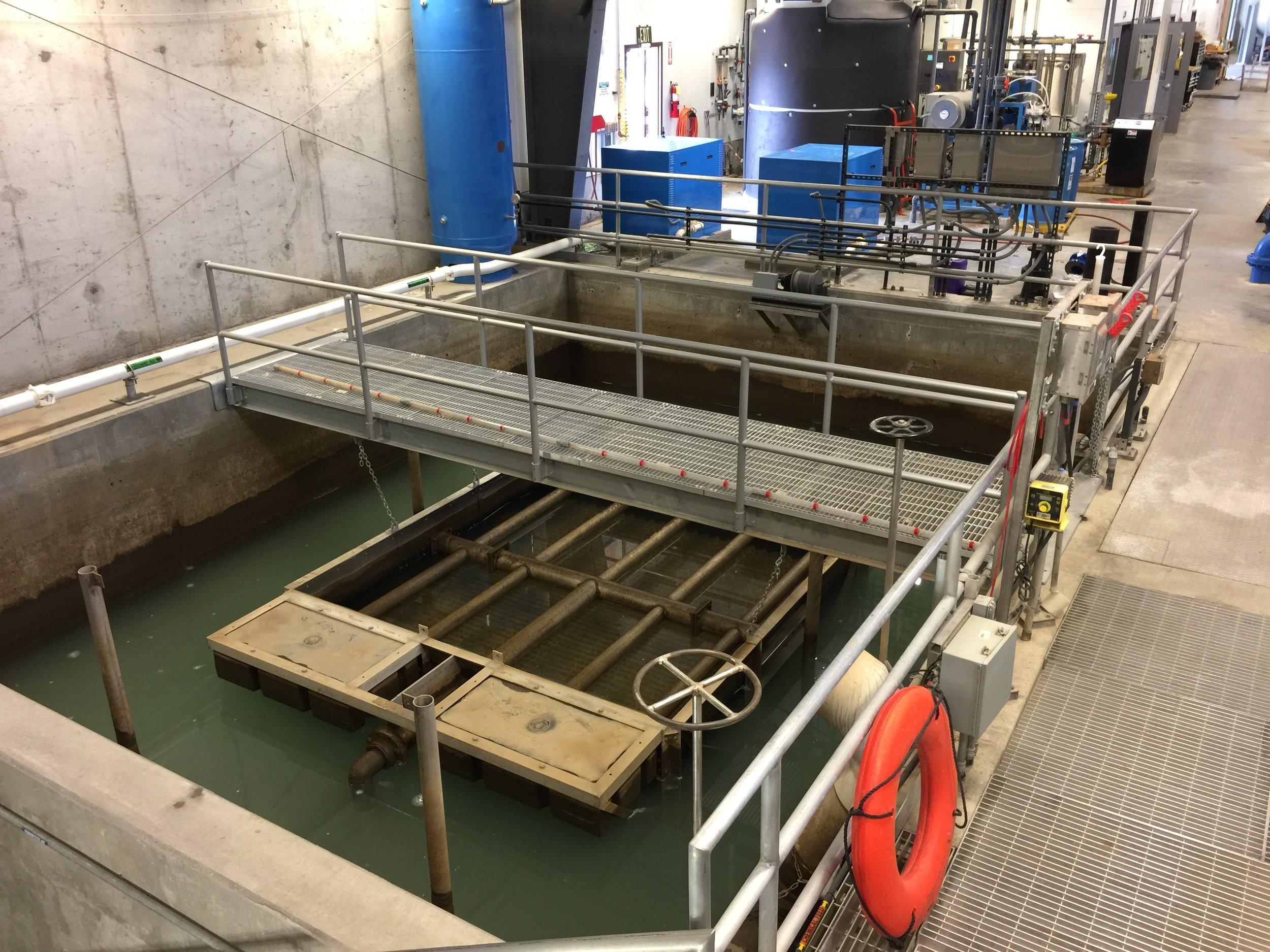 12. Membrane Backwash Tank showing new floating tube settlers for improved clarification.