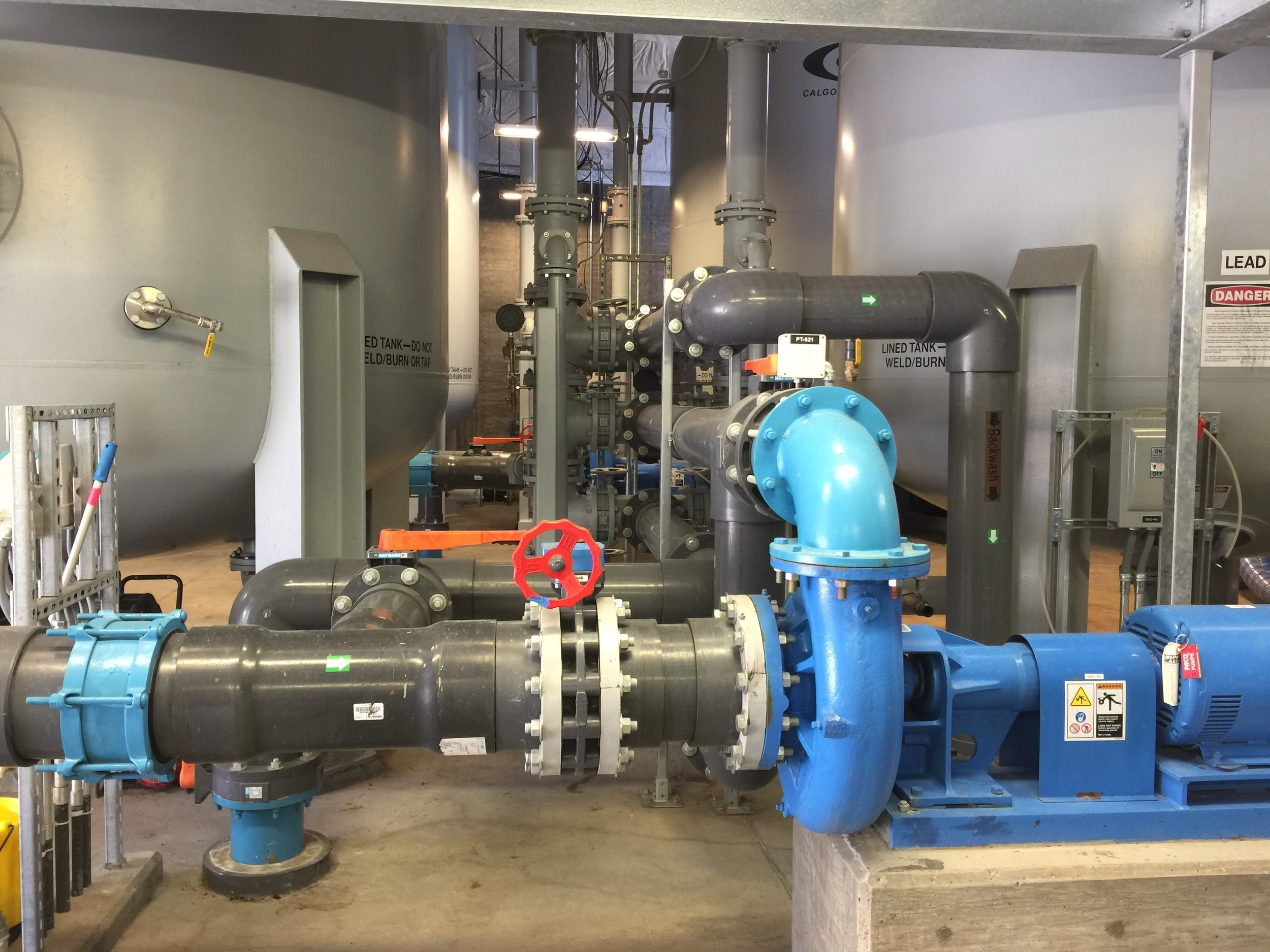 14. Pumps to deliver treated water to post-treatment system