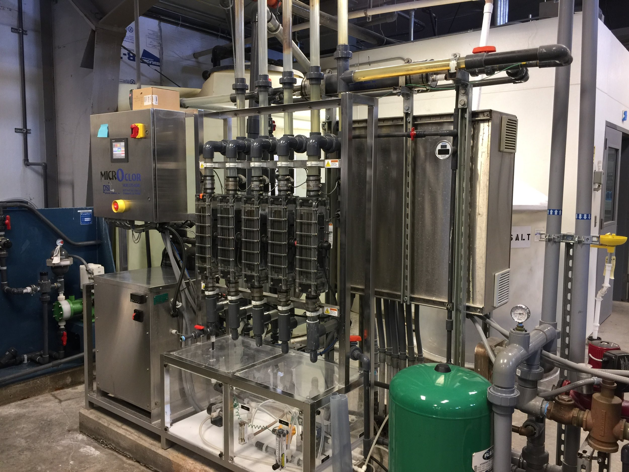 16. Chlorine Generator System - Generates chlorine safely from salt solution. Used for final disinfection of plant water before it moves into the finished water tank and distribution piping system.