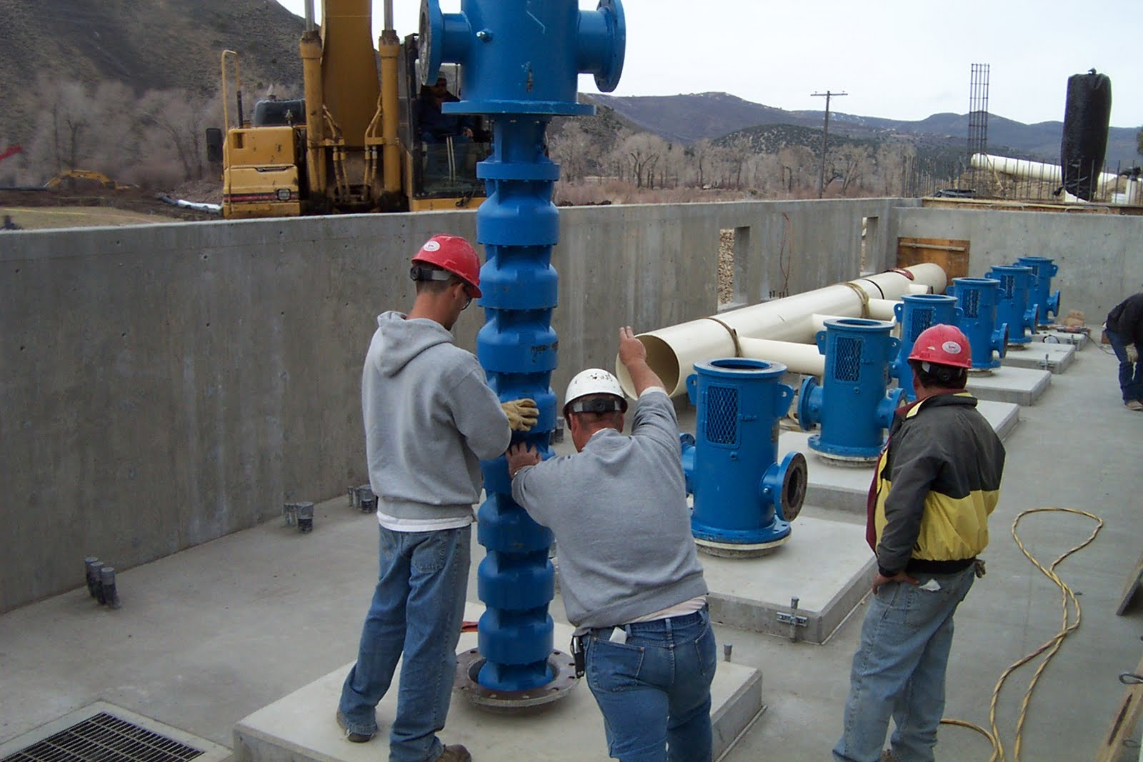 Installation of pumps in the Lost Canyon Booster Pump Station.