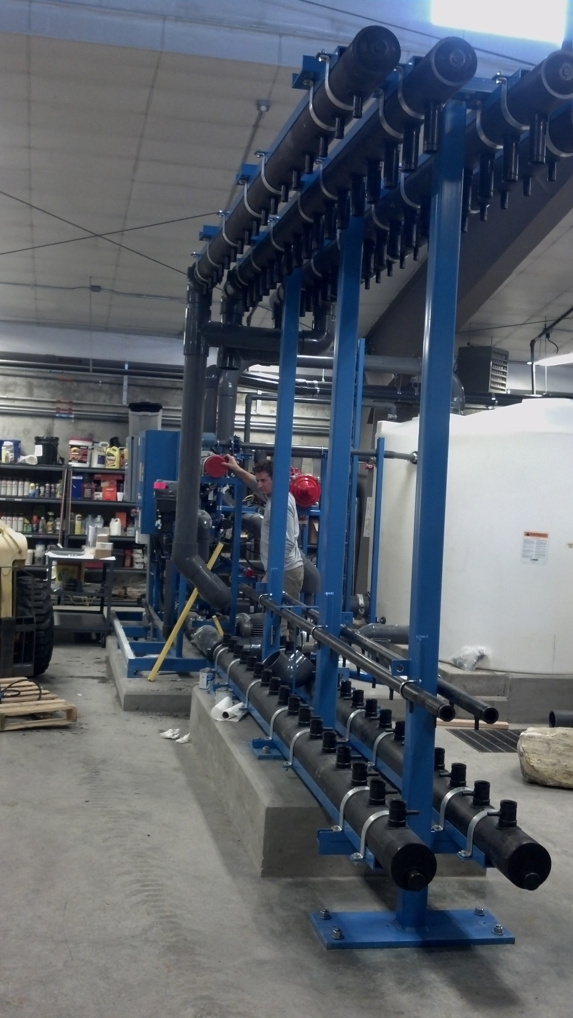 Assembly of the piping, valving, and control system of the new skid.