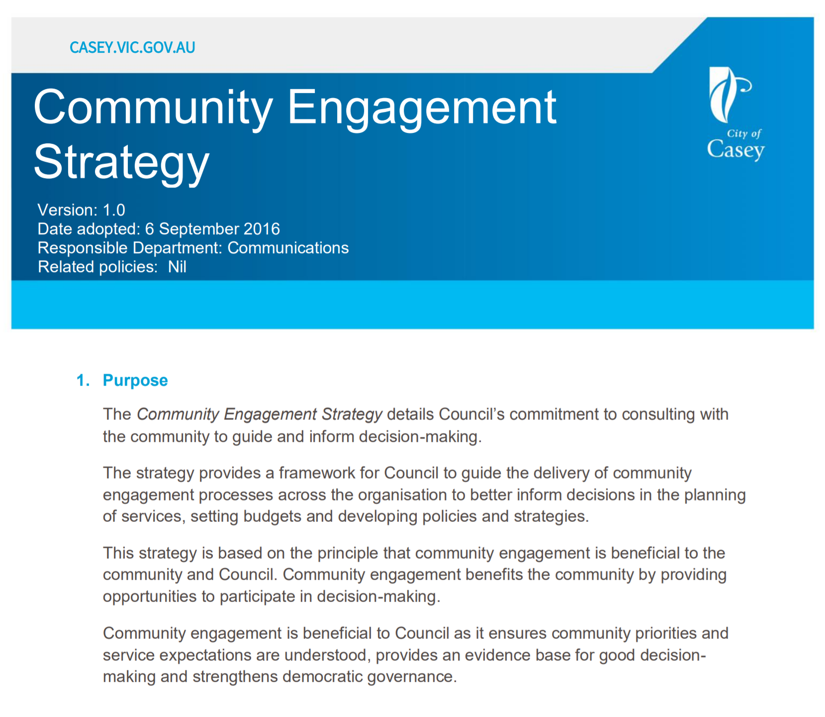 City of Casey Community Engagement Strategy