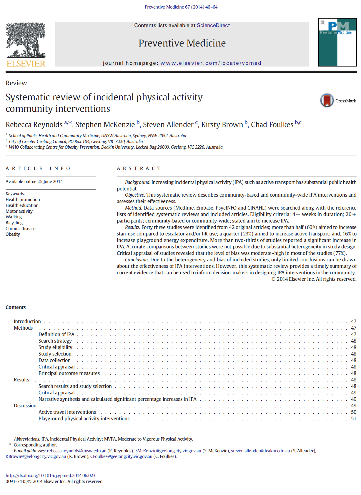 Systematic Review of incidental physical activity community interventions