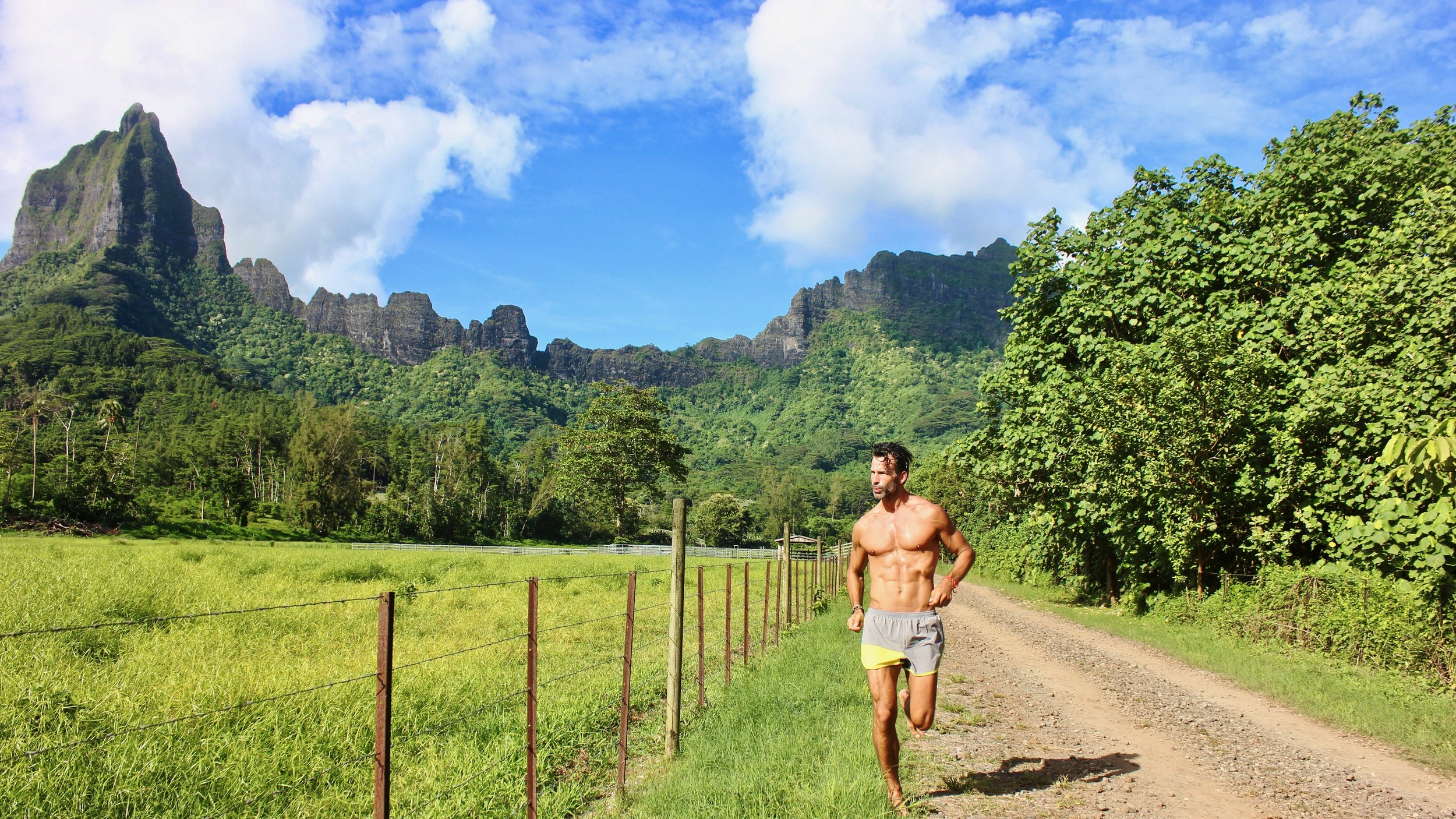 A barefoot run through scenic landscapes of Moorea.