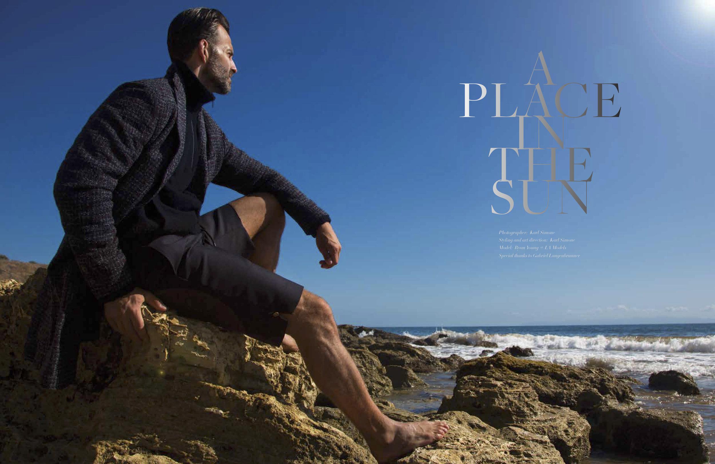 Coat: Neiman Marcus. Terry Half Zip: Vince Trouser Shorts: Thom Browne