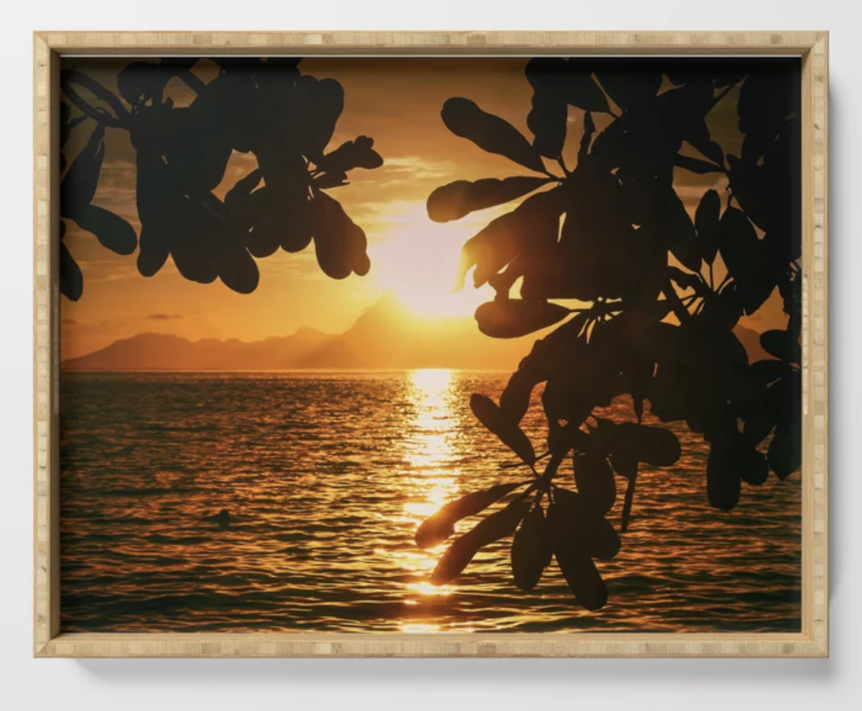 Golden Tahiti Sunset Behind Island Serving Tray, Prints and More  by  Ryyoung