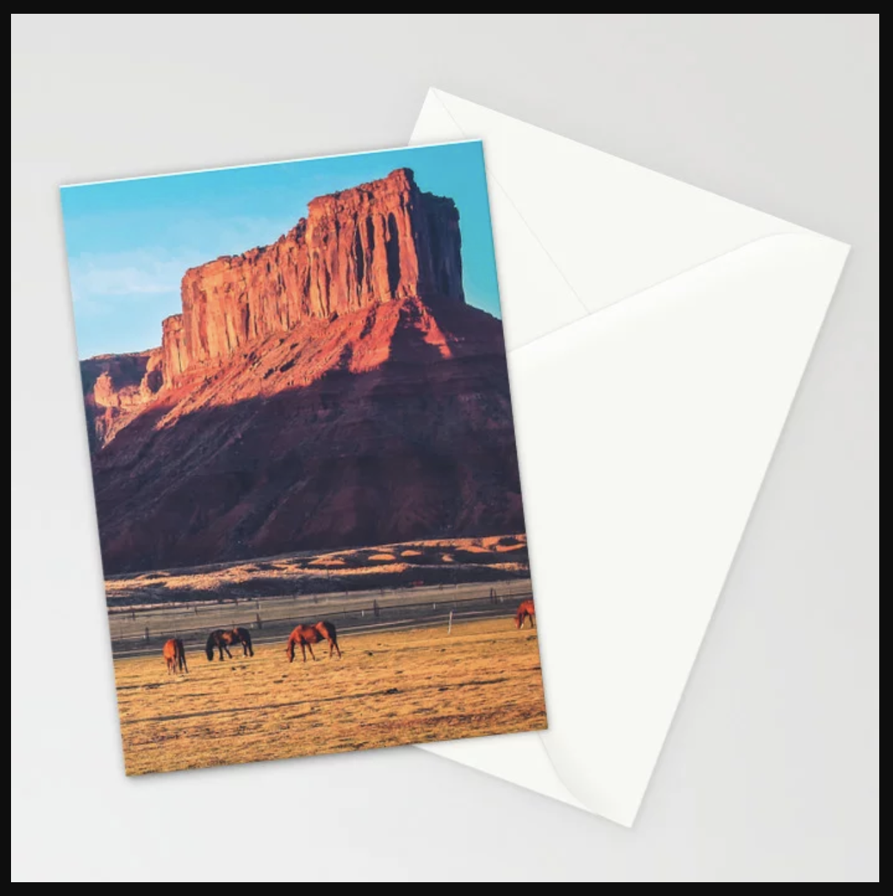 Horses with Desert Vista in Morning Light, Vintage Stationery Cards Available at Society6. #PhotosbyRyan