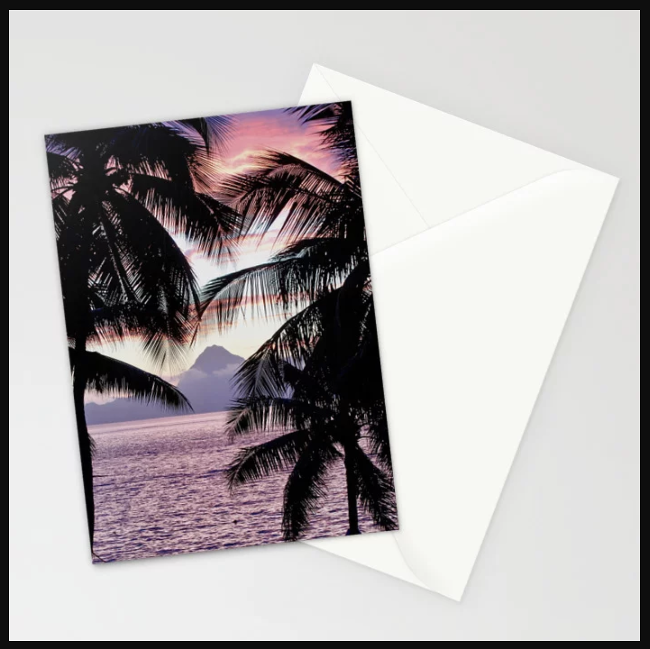 Pink Tahiti Sunset Over Moorea Stationery Cards, Prints and More by    Ryyoung