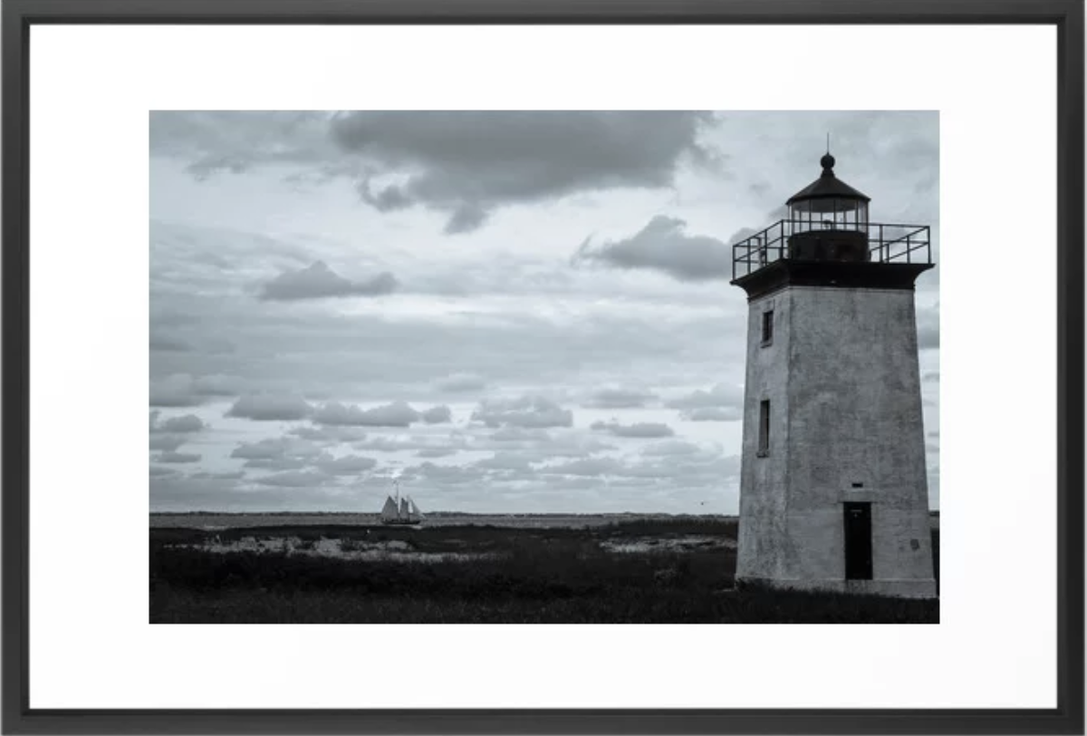 Lighthouse with Ship, Cape Cod Framed Art Print by    Ryyoung
