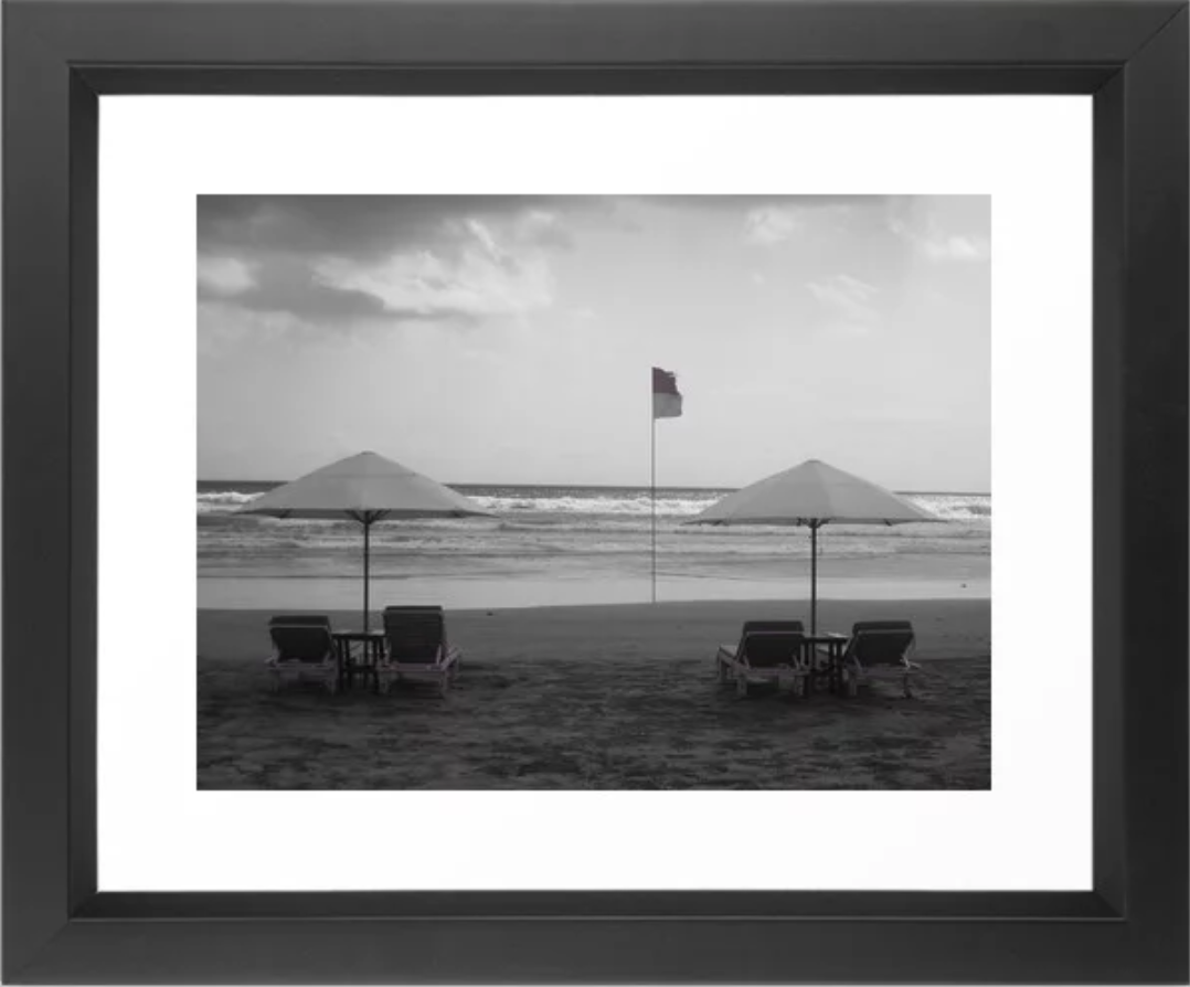 Bali Beach Black & White With Pink Framed Art Print by   Ryyoung