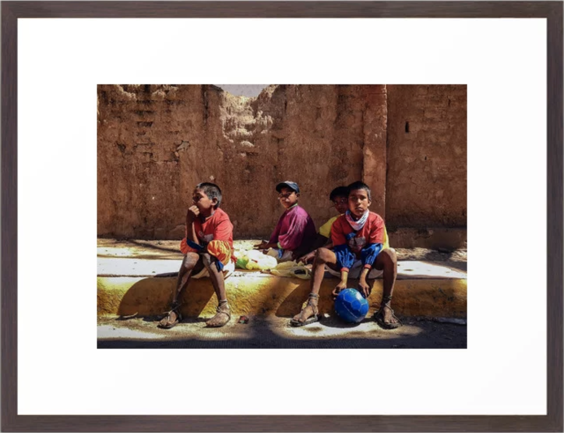 Raramuri Boys Chill Curbside, Urique Mexico Framed Art Print by    Ryyoung