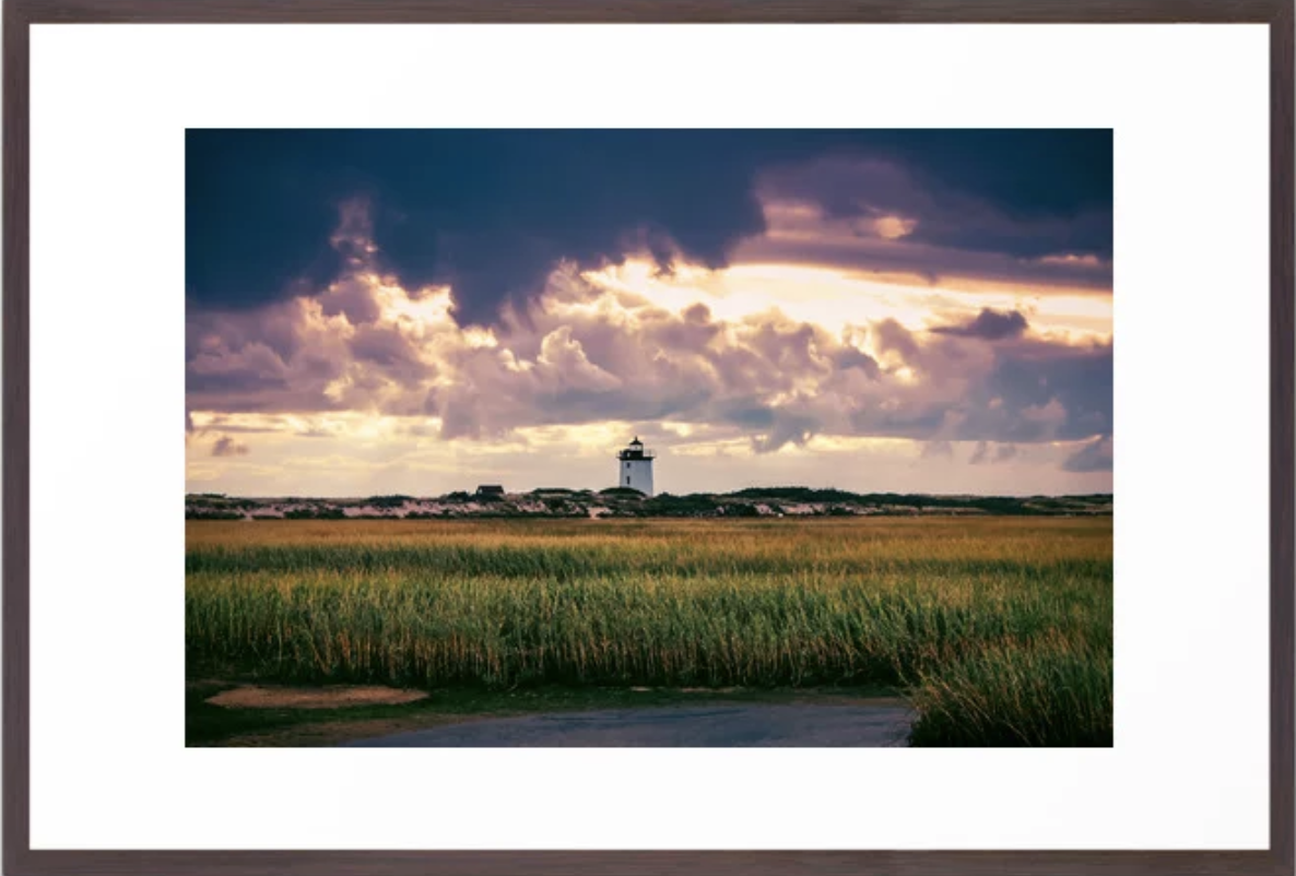 Gathering Storm at Sunset, Cape Cod Lighthouse Framed Art Print by   Ryyoung
