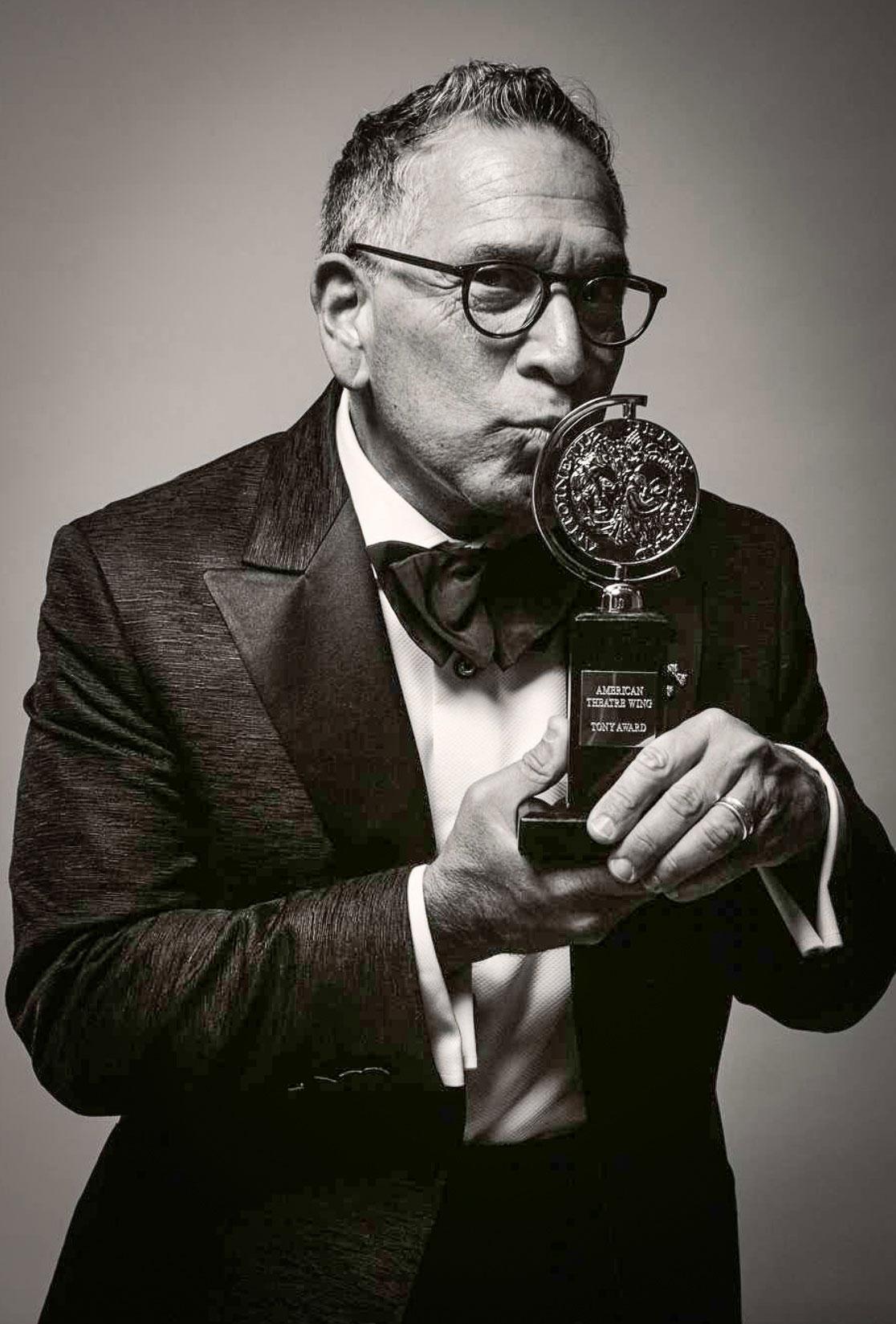 Robert Horn cradles his 2019 Tony Award for Best Book of a Musical.