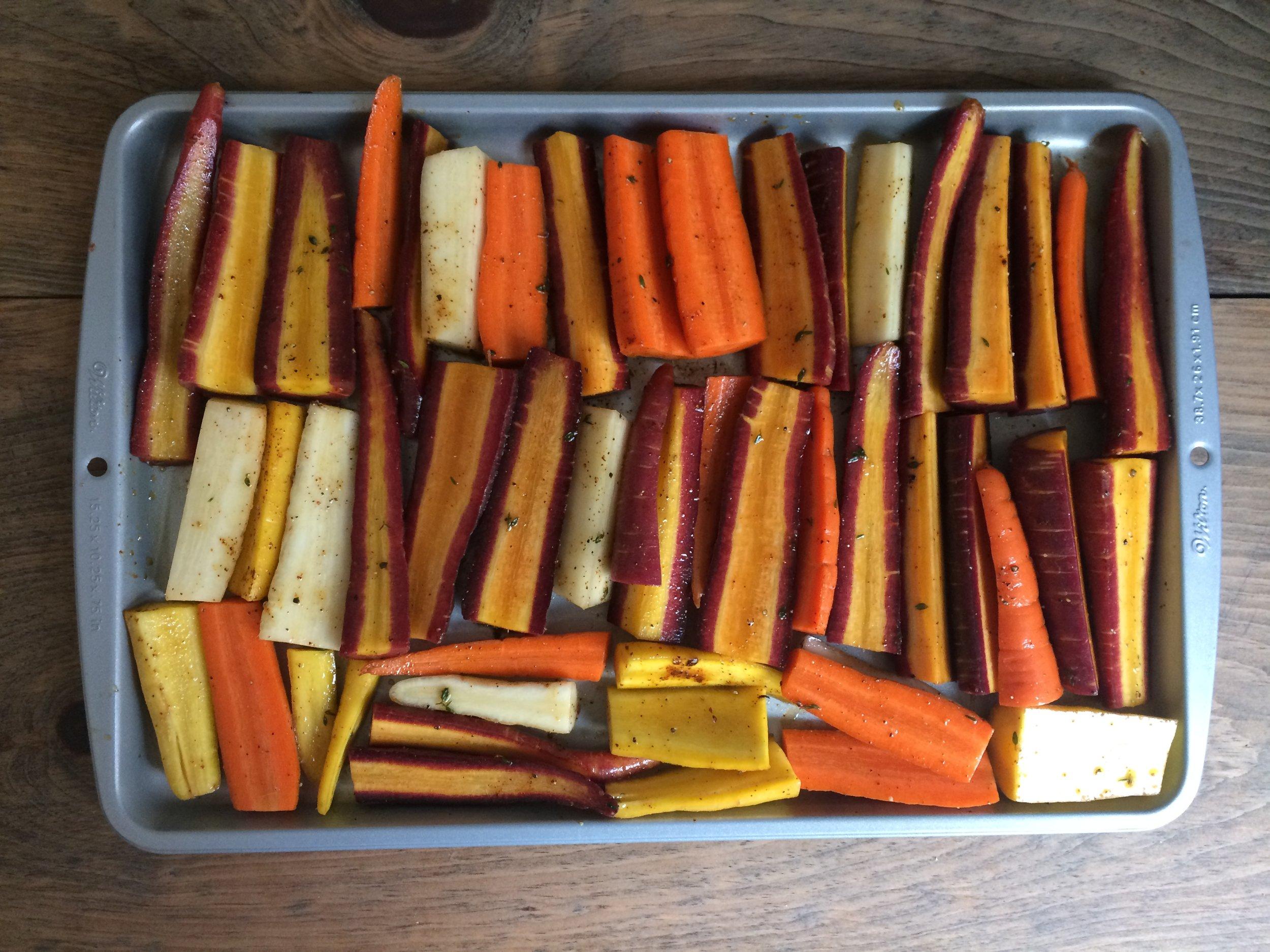honey roasted carrots with tahini dressing
