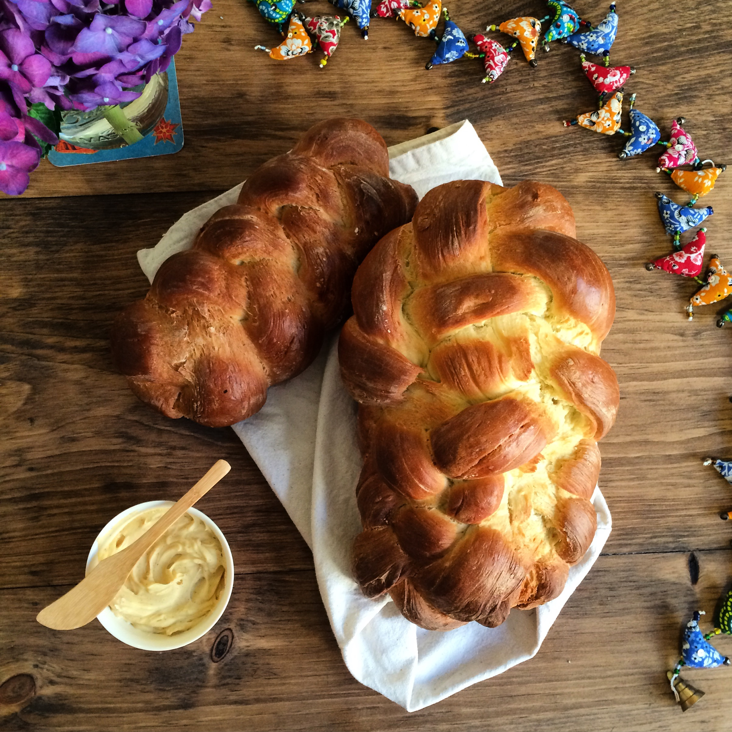 challah bread with salted honey butter