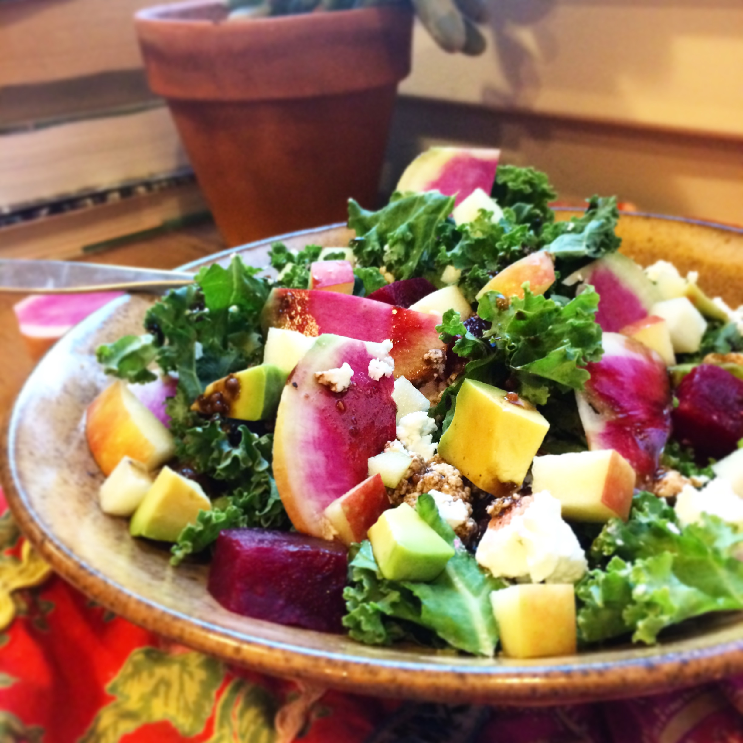 watermelon radish, roasted beet and goat cheese salad