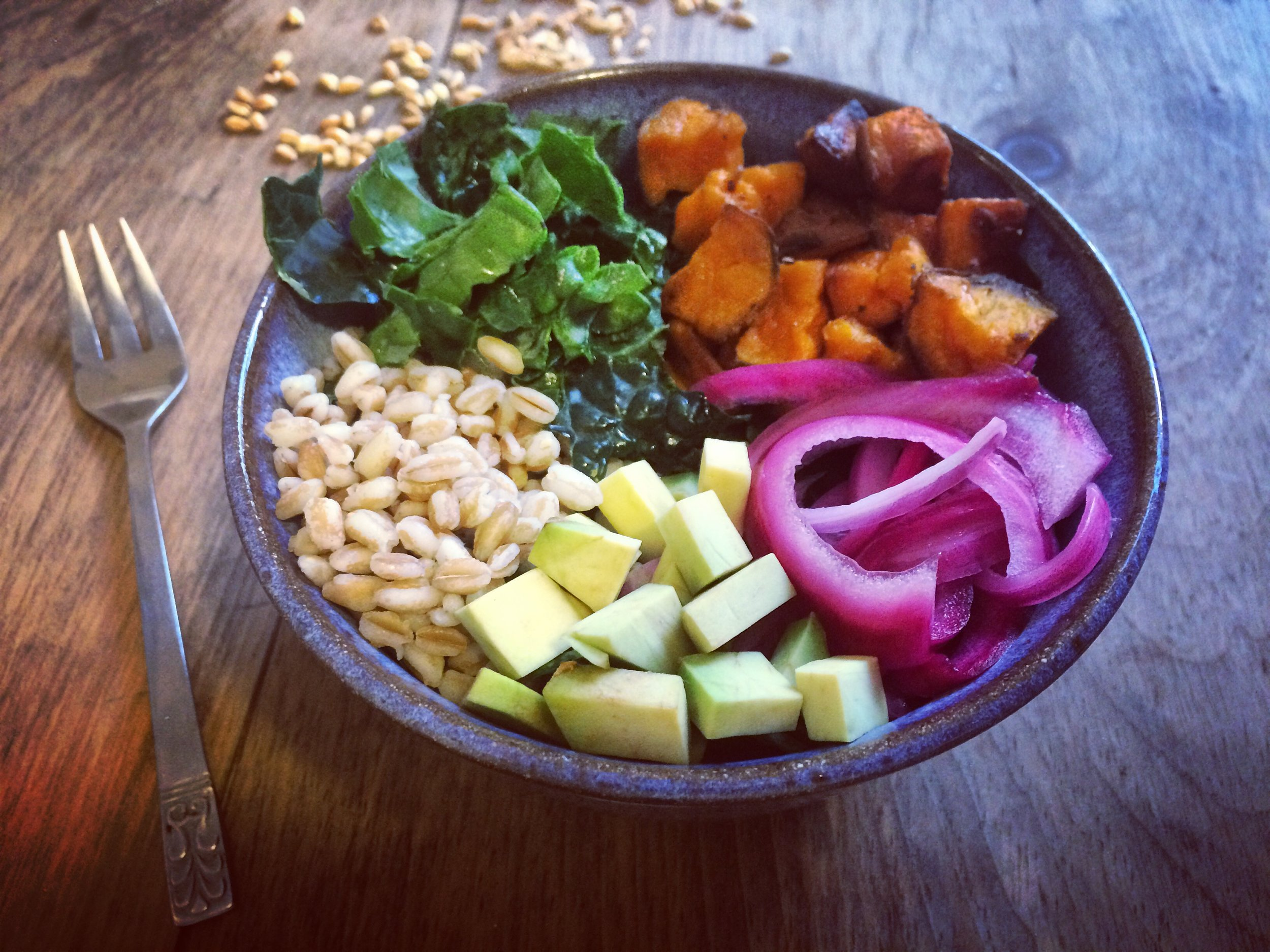 fall soul bowl with nutty tahini dressing