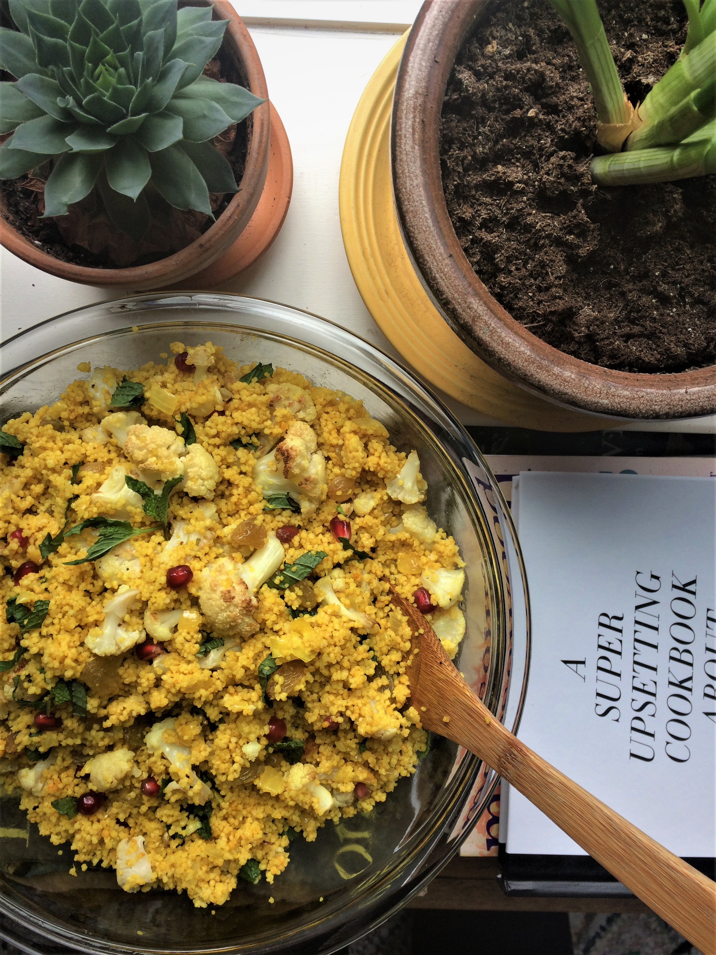 turmeric couscous bowl with cauliflower, pomegranate and mint || planting my roots