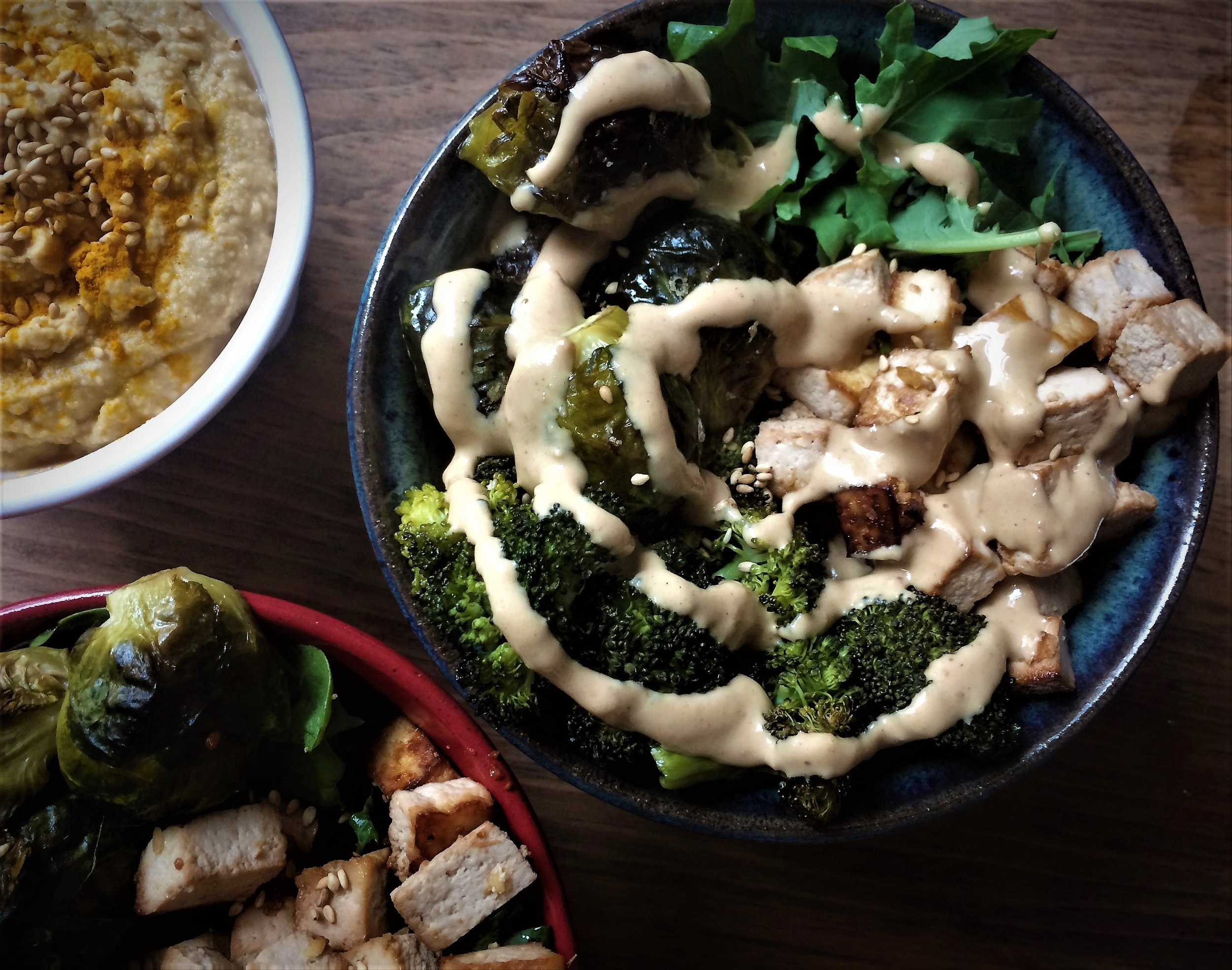 roasted veggie, miso-marinated tofu and peanut sauce bowl || planting my roots