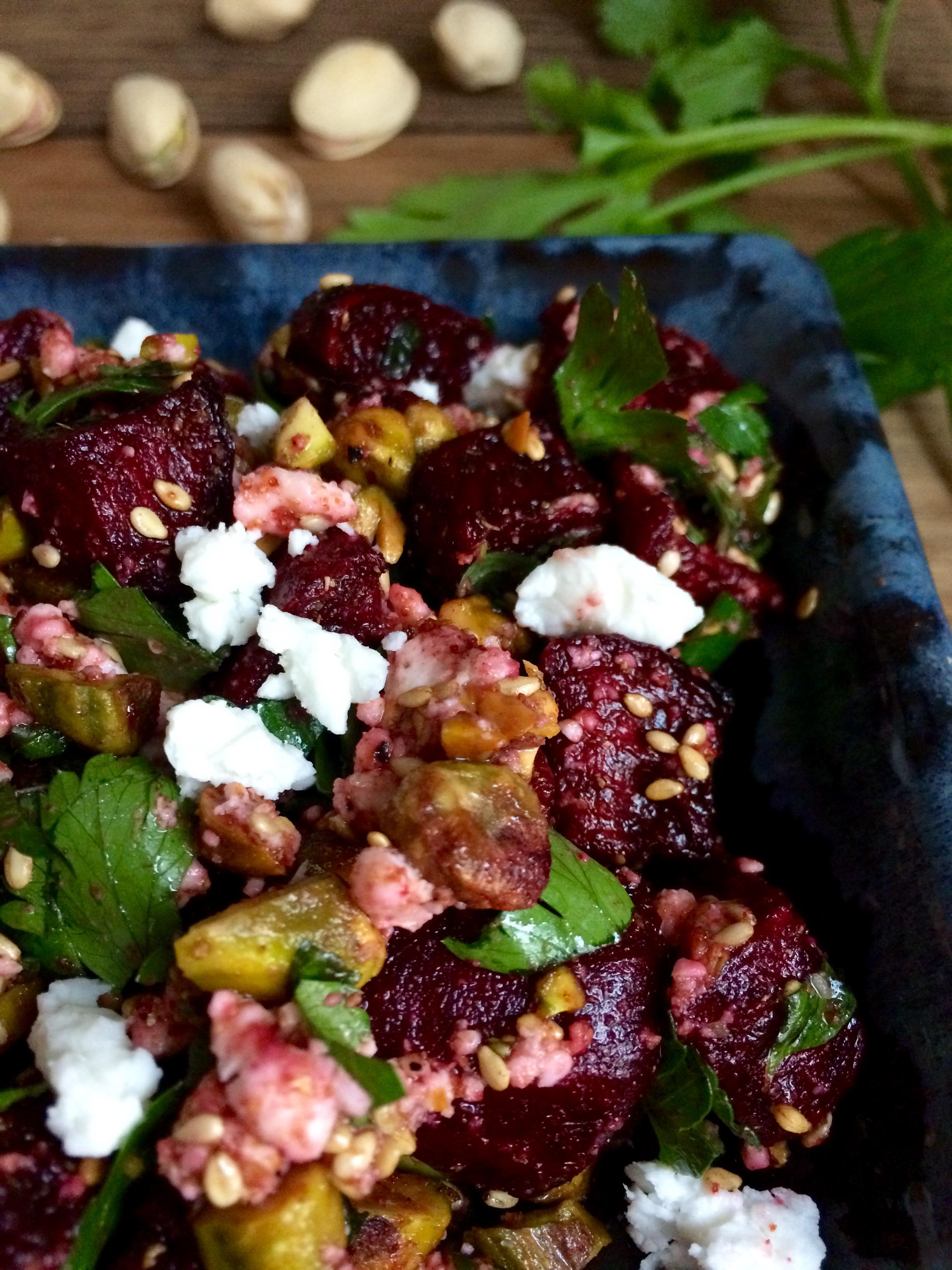 pistachio dukkah beet salad    planting my roots