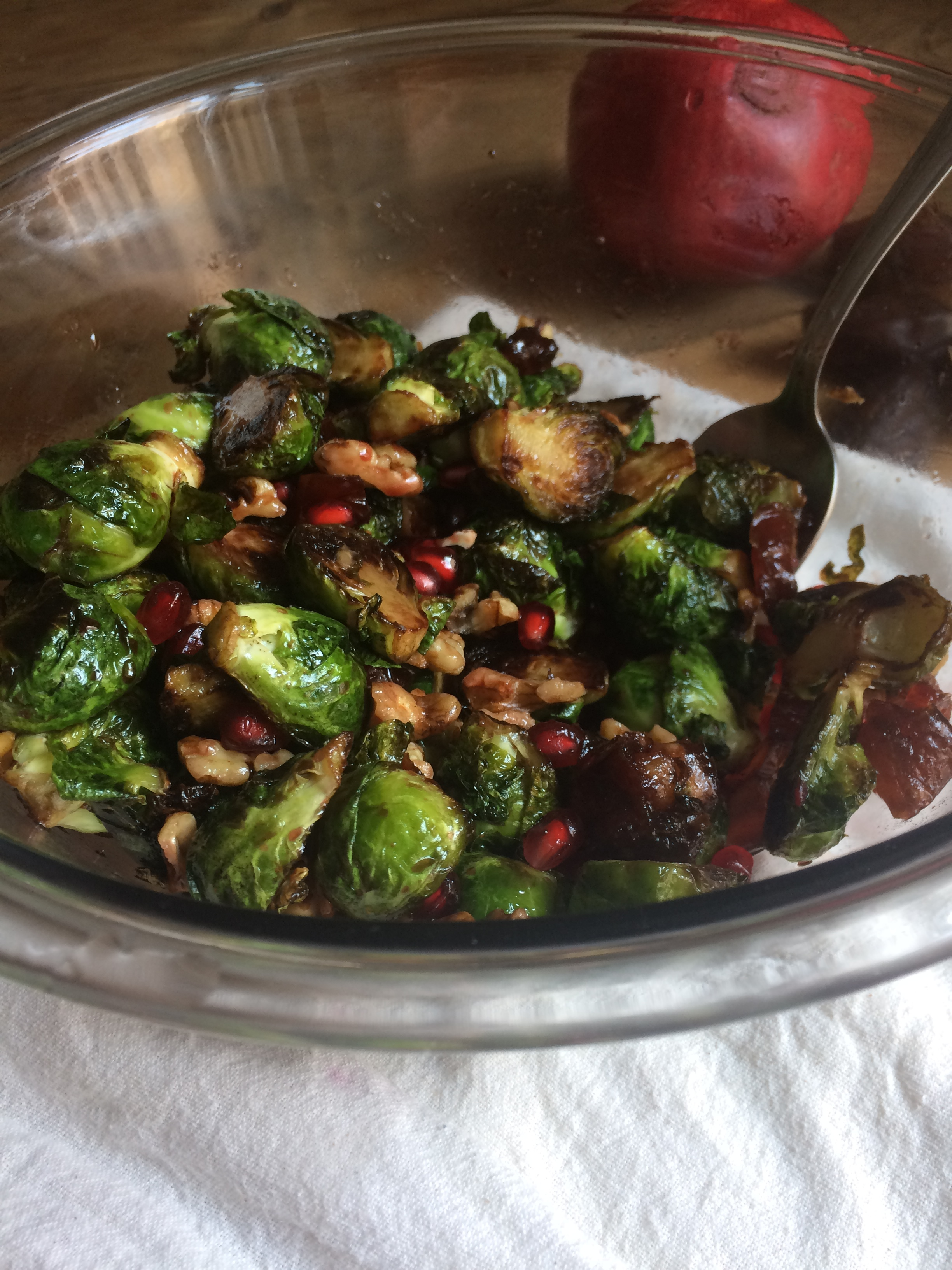 brussels sprouts with a pop of pomegranate || planting my roots