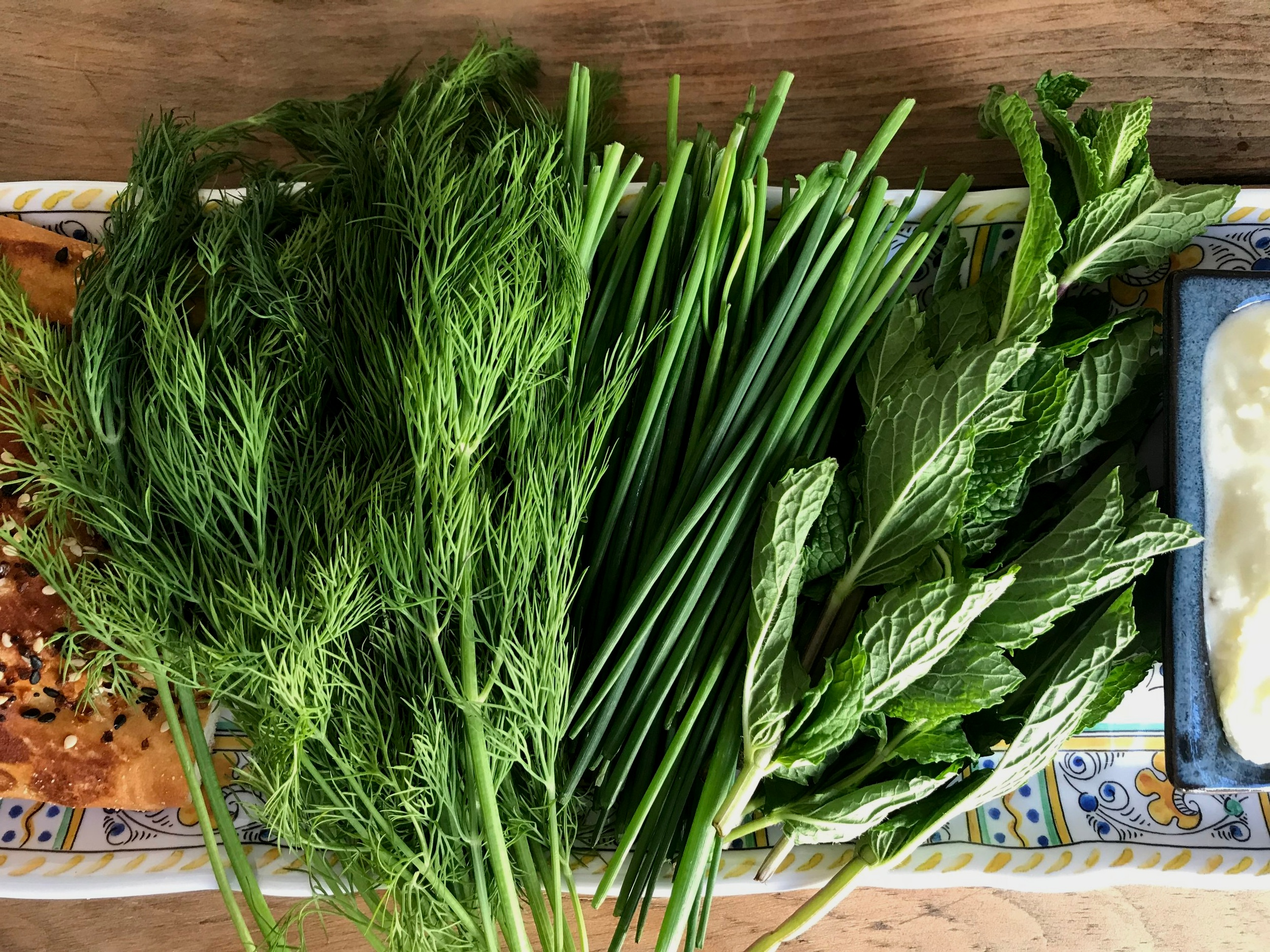 fresh herb platter, mint, dill and chives