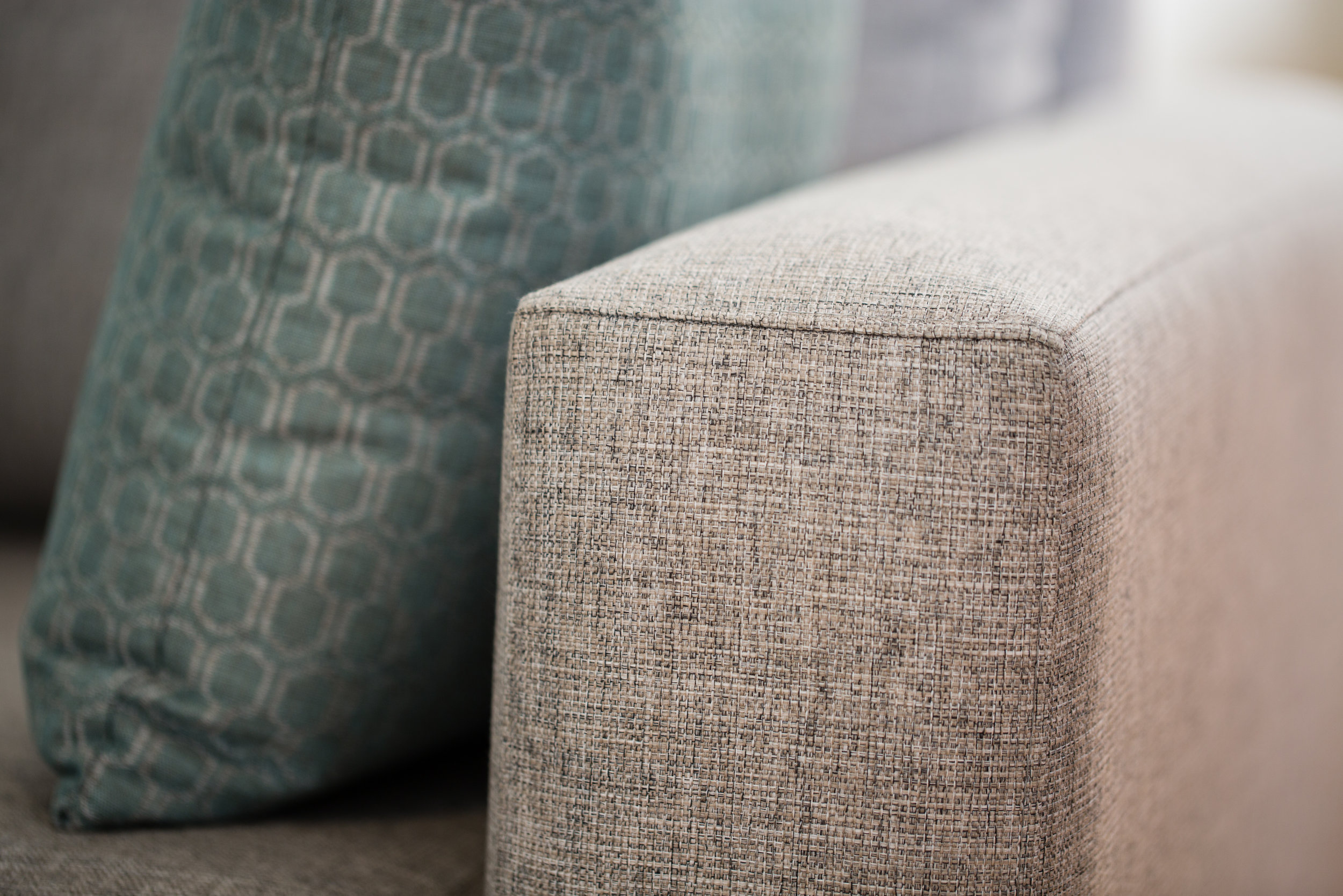 Sofa: Stamford White Ash. Scatter: Tribeca Teal.