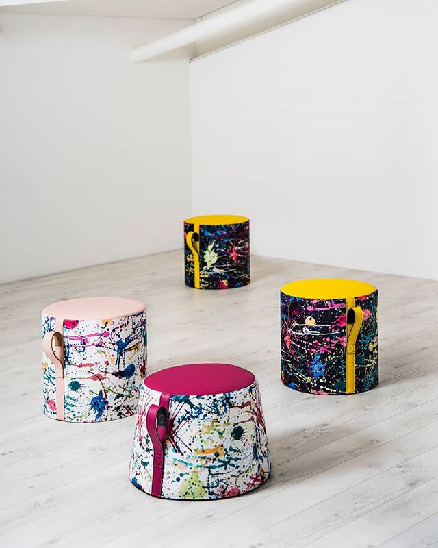 How fun do these Teacup ottomans look from @luxmyfurniture in our new Splatt print! Colours from this new print work back to our Zest vinyl palette creating a great combo as shown!  Love the playful, interactive designs - suits the Splatt design perfectly!  #fabric #upholstery #textiles #design #colour #palette #interiordesign #luxmy #melbourne #profilefabrics #creative #homeinspo #inspiration #texture #tone #colourinspo #fresh #inspiration #interior #fun #interactive #playful #commercial #colourful #ottoman