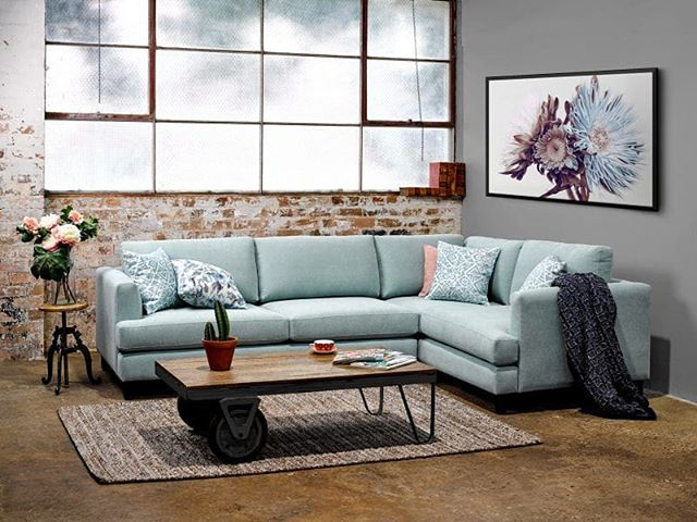 Here's a shot of the Mansfield sectional from #ricofurniture made up in our London Haze with Zenith Mint scatters. Such a fresh combo for this Spring Season!  #fabric #upholstery #australianmade #ricofurniture #textiles #design #colour #palette #interiordesign #melbourne #profilefabrics #creative #homeinspo #inspiration #texture #tone #colourinspo #fresh #inspiration #interior #sectional #lounge #spring #SS19
