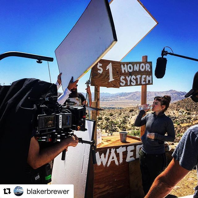 #Repost @blakerbrewer with @repostapp ・・・ Desert shooting. #1stAd #feature #film #desert #hot #filmmaking #water #reddragon #therelationtrip