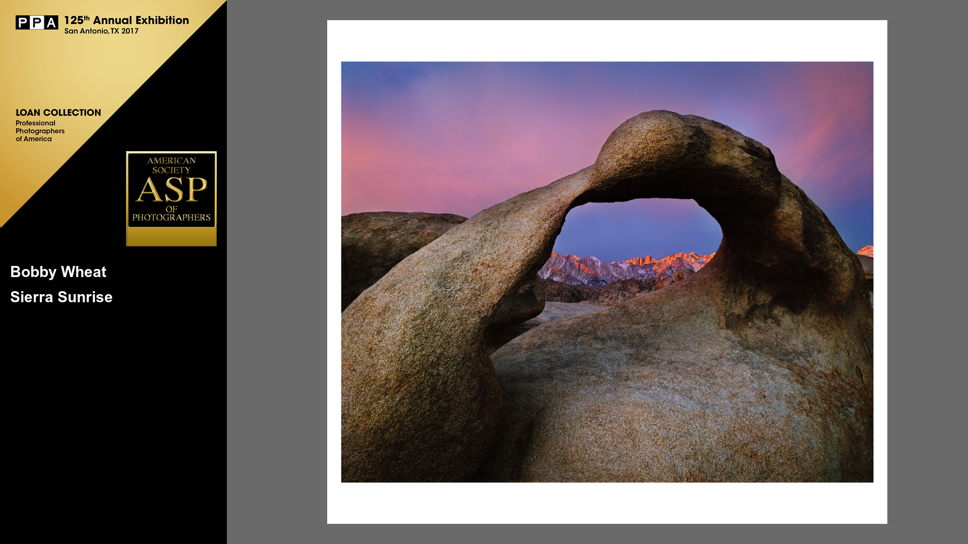 Sierra Sunrise     Gold Medal + Loan Collection (Highest Honor)   2016 PPA International Competition