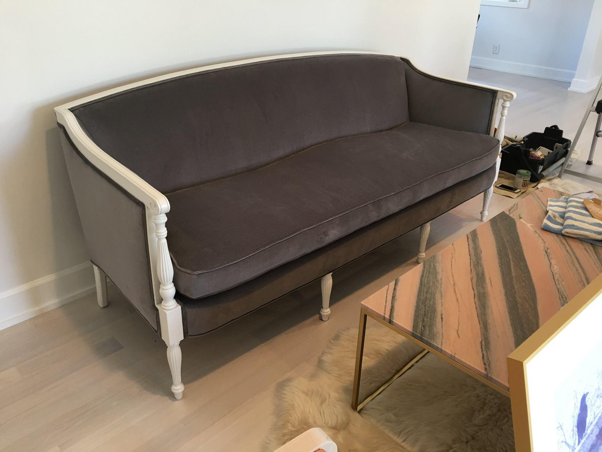 Grey Velvet Sofa w/ Custom Paint