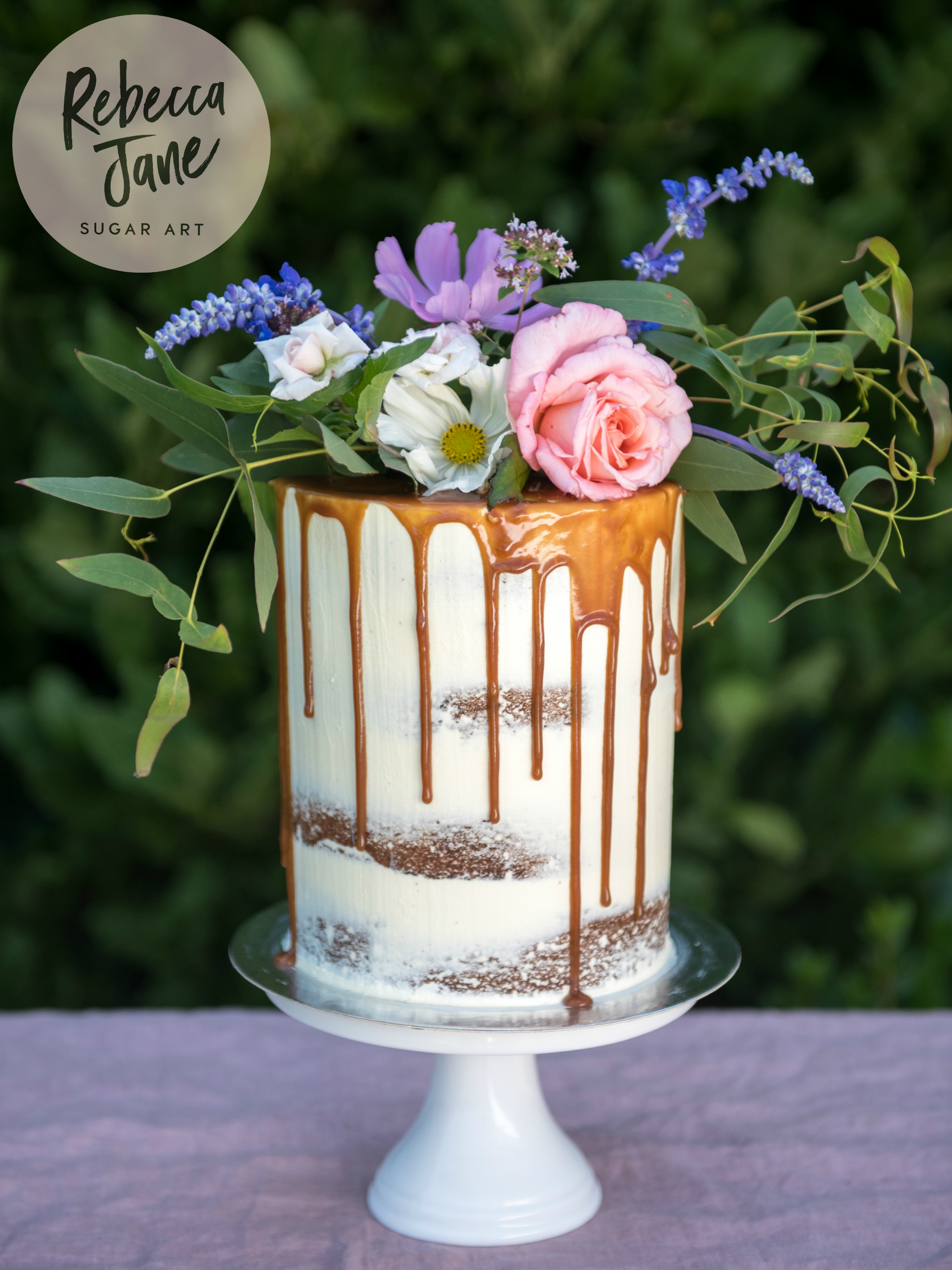 Rebecca Jane Sugar Art - semi-naked caramel drip floral wedding cake