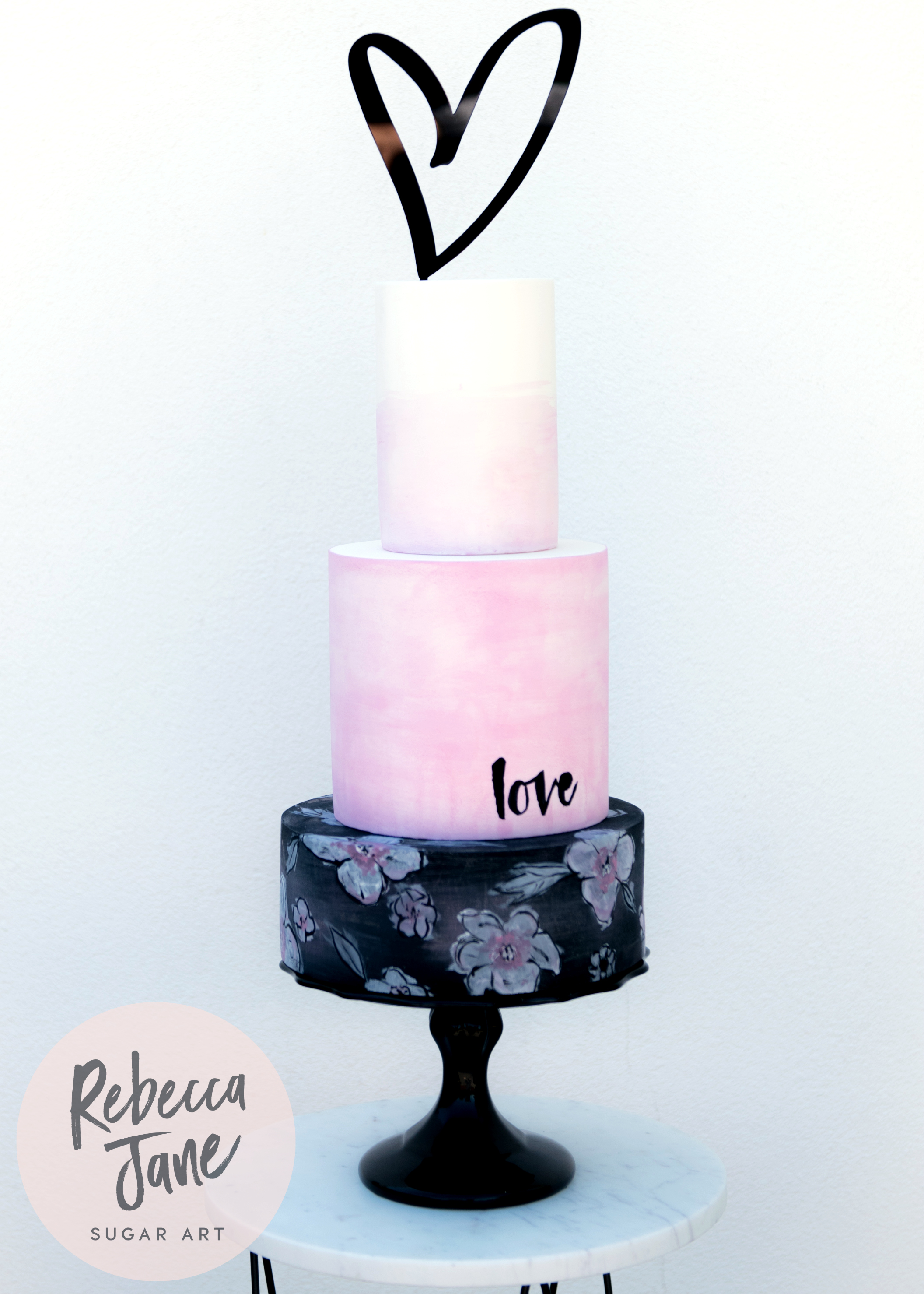 Rebecca Jane Sugar Art - modern bold black pink painted wedding cake
